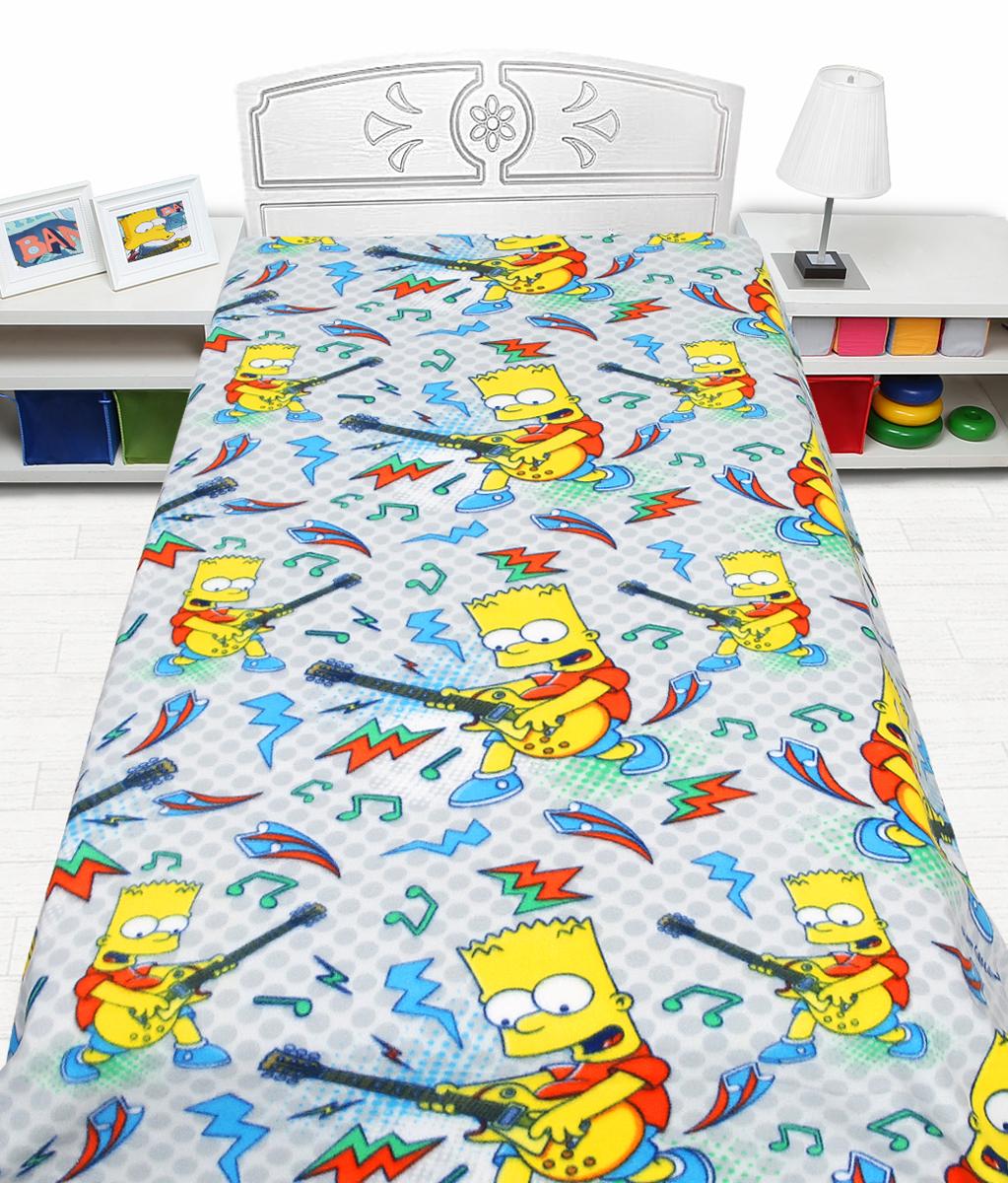 Плед флисовый Mona Liza Simpsons, цвет: серый, размер 150 см х 200 см520313Режим стирки: при 30 градусах; плотность плетения ткани: средняя