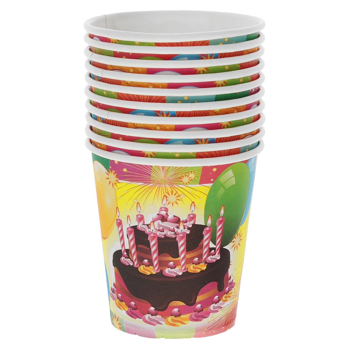 """Набор бумажных стаканов Olala """"День рождения"""", 210 мл, 10 шт"""