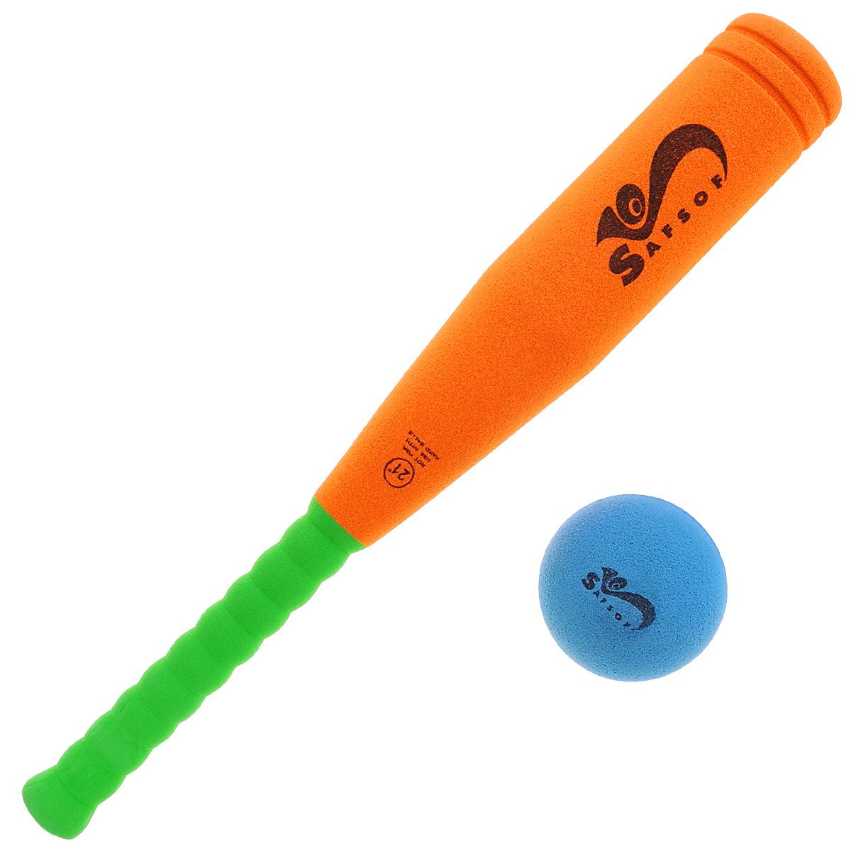 """Safsof Игровой набор Safsof """"Бейсбольная бита и мяч"""", цвет: оранжевый, зеленый, синий"""