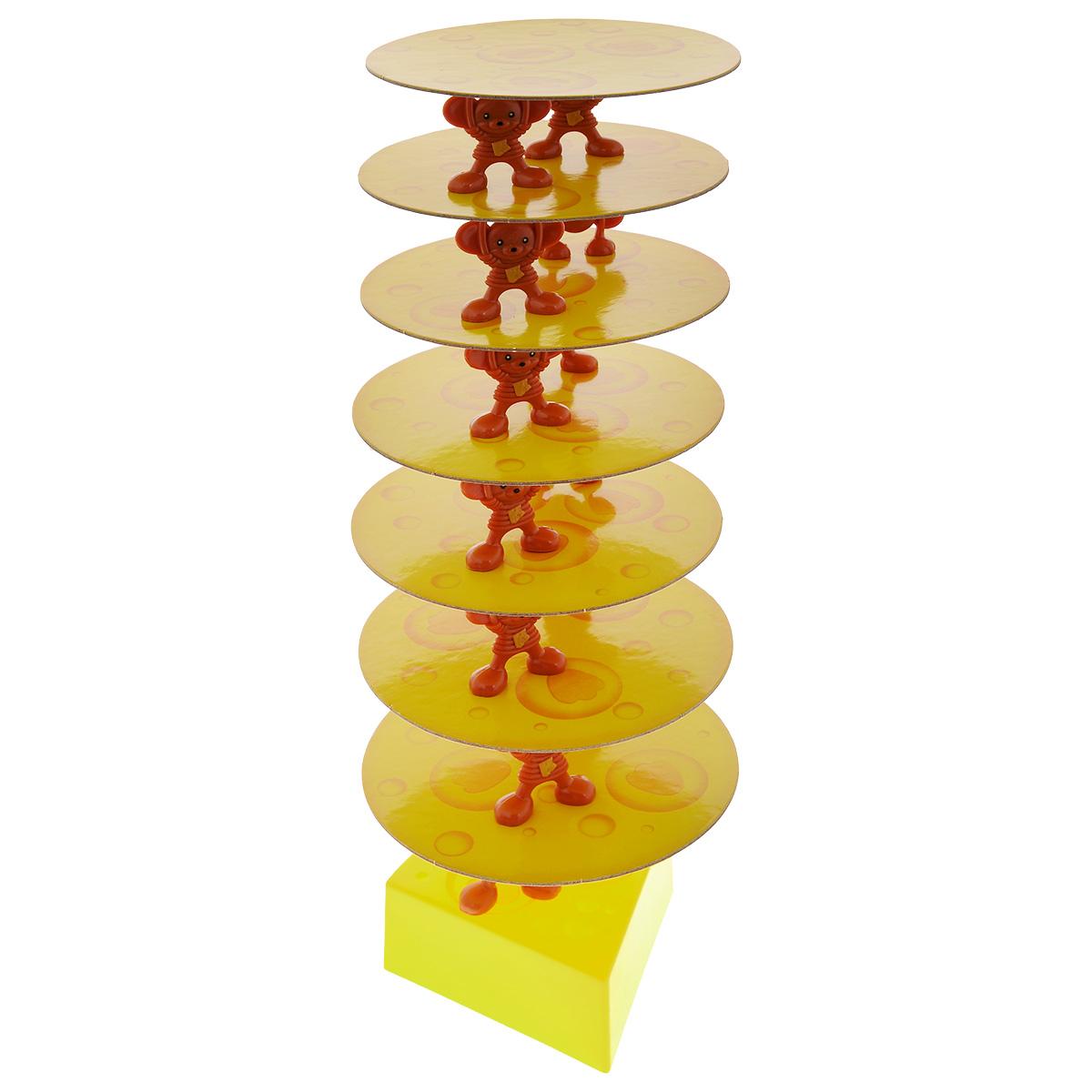 Настольная игра Zilmer Сырная башняZIL0501-009Zilmer Сырная башня - это увлекательная настольная игра, которая прекрасно подойдет не только для детей, но и для игры всей семьей. Основная цель игры состоит в том, чтобы участники игры поочередно ставили мышат на пластинки из сыра, создавая башню, которая будет разрастаться с мимолетной скоростью. Поддерживать башню своими лапками как раз и будут мышата. Чтобы повысить сложность игры для вашего противника и увеличить шансы на свою победу, вы можете поставить мышек на края конструкции вражеской башни. Игра способствует развитию мелкой моторики, логического мышления и коммуникабельности. Игра для 2-4 человек. В комплекте: игровая база, 7 пластинок сыра, 14 фигурок мышат.