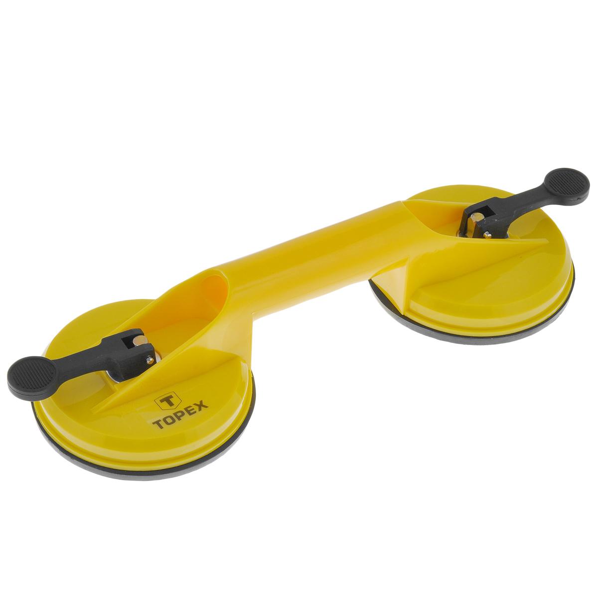 Стеклодомкрат Topex, цвет: желтый, черный, 80 кг14A780Стеклодомкрат предназначен для переноски тяжелых предметов, таких как стекла, зеркала, дверные полотна, элементы окон, напольные плиты. Идеально подходит для любителей. Не пригоден для профессиональных работ! Материал: пластик, металл. Диаметр присоски: 11,5 см. Общий размер ручки-присоски: 32 см х 11,5 см х 9 см. Максимальная нагрузка: 80 кг.