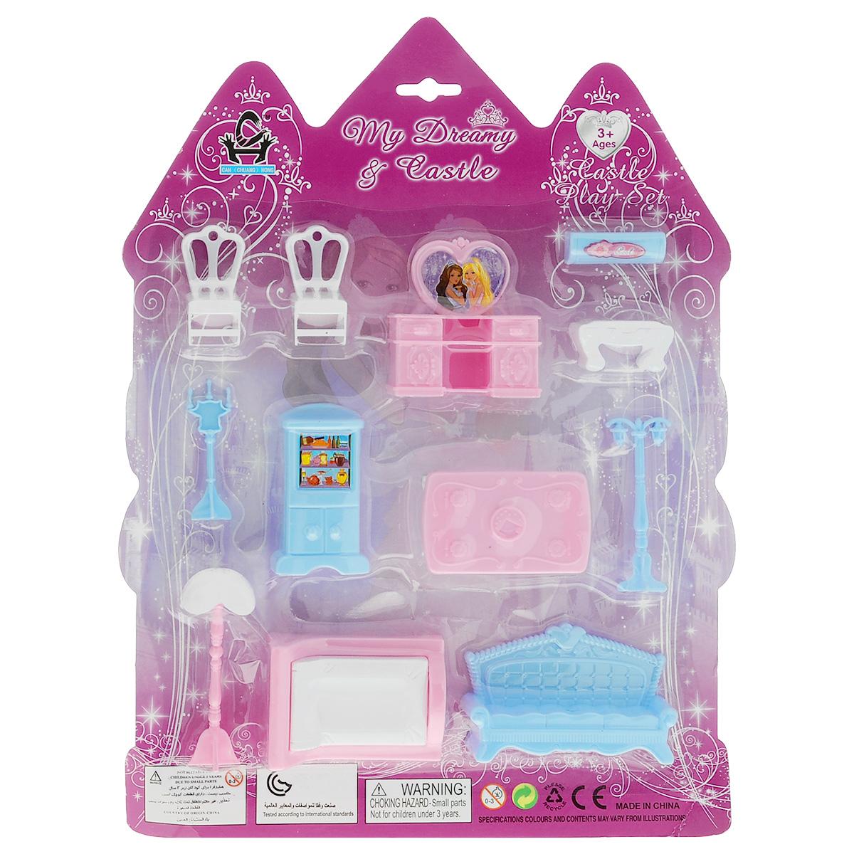 Игровой набор Набор мебели. Замок, 12 предметов. 627333627333Набор мебели. Замок - это замечательный игровой набор, который станет отличным подарком для вашего ребенка. Придумывая множество ситуаций ребенок весело и интересно проведет время. Детали сделаны из качественного и прочного пластика розового, белого и сиреневого цветов. Игра с таким набором способствует развитию детского воображения, мелкой моторики рук и фантазии. Набор состоит из 12 предметов.