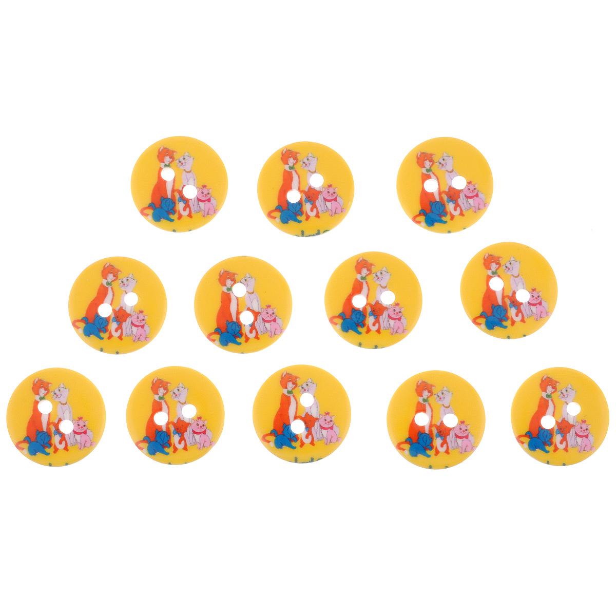 Пуговицы декоративные Астра Magic, цвет: желтый, белый, красный, диаметр 17 мм, 12 шт7708670Набор Астра Magic состоит из 12 круглых декоративных пуговиц, изготовленных из пластика, с помощью которых вы сможете украсить открытку, фотографию, альбом, одежду, подарок и другие предметы ручной работы. Такие пуговицы станут незаменимым элементом в создании рукотворного шедевра. Диаметр пуговиц: 17 мм.