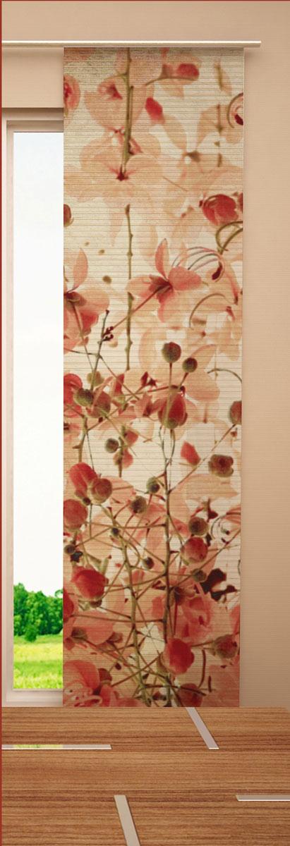 Японская панель Garden Красные цветы, 60 х 270 смW678 (1985) 60х270 V157Японская панель Garden Красные цветы выполнена из 100% полиэстера с ярким цветочным рисунком. Такая панель сможет заменить обычные шторы и оригинально украсить любой интерьер - от классики до авангарда. Японская панель будет смотреться как в просторных помещениях с большими окнами, так и в маленьких комнатах такие шторы могут создать уют и комфорт. Современные японские панели позволяют оформлять не только оконные и дверные проемы, но и могут выступать в качестве декоративных перегородок: для отделения рабочей зоны, спального места, кухни и т.д. Преимущество данных штор в том, что они, как и жалюзи, занимают мало места. Конструкция позволяет их легко монтировать и снимать. Внизу панель утяжелена специальной планкой. А вверху панель крепиться на липучке к специальной жесткой планке для крепления и перемещения по карнизу. Для подвешивания японских штор необходим специальный карниз. Он представляет собой алюминиевый профиль с несколькими рядами для панелей (до 10...