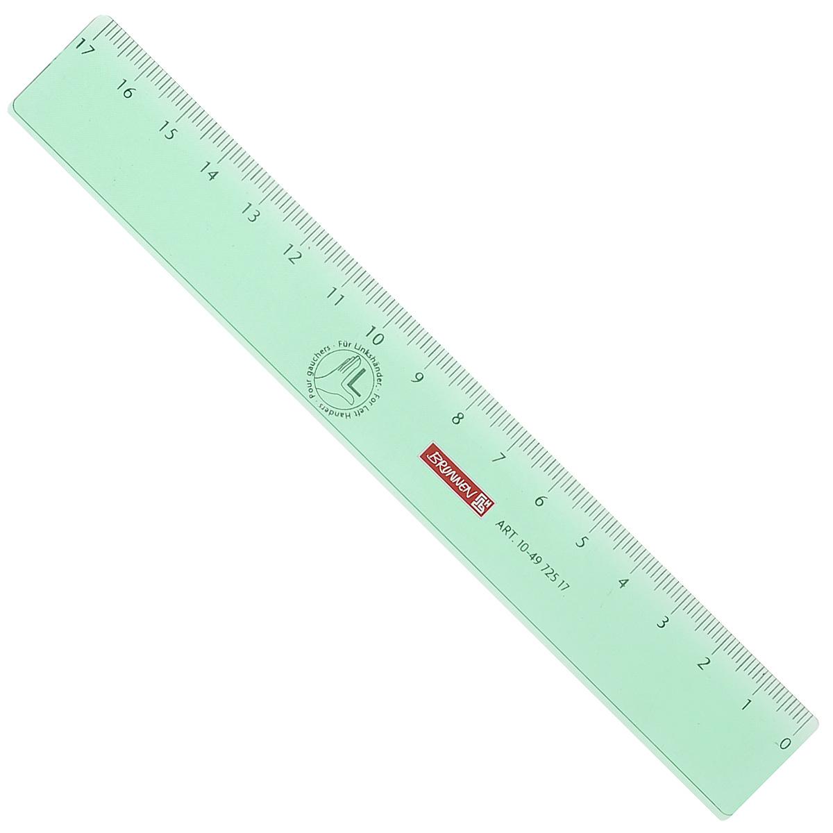 Линейка для левши Brunnen, цвет: зеленый, 17 см49725-17\BCDЛинейка Brunnen, длиной 17 см, выполнена из прозрачного пластика зеленого цвета. Линейка предназначена специально для левшей. Шкала на линейке расположена справа налево. Линейка Brunnen - это незаменимый атрибут, необходимый школьнику или студенту, упрощающий измерение и обеспечивающий ровность проводимых линий.