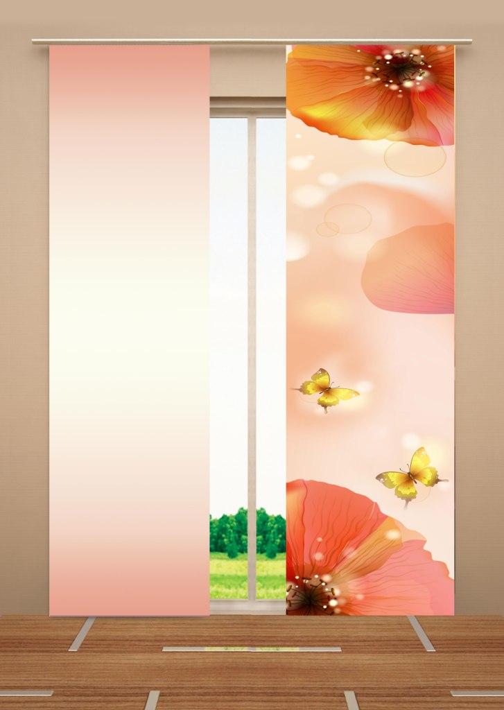 Японская панель Garden Цветы, 60 см х 270 см, 2 штW678 (1985) 60х270 V384,v385Японская панель Garden Цветы выполнена из 100% полиэстера с красочным цветочным рисунком. Такая панель сможет заменить обычные шторы и оригинально украсить любой интерьер - от классики до авангарда. Она будет отлично смотреться как в просторных помещениях с большими окнами, так и в маленьких комнатах. Кроме того, такие панели позволяют оформлять не только оконные и дверные проемы, но и могут выступать в качестве декоративных перегородок: для отделения рабочей зоны, спального места, кухни и т.д. Преимущество данных панелей в том, что они, как и жалюзи, занимают мало места. Конструкция позволяет их легко монтировать и снимать. Внизу панель закреплена специальным утяжелителем, а вверху карнизным держателем. Для подвешивания японских панелей необходим специальный карниз. Он представляет собой алюминиевый профиль с несколькими рядами (до 10 рядов). Панель крепится на направляющую при помощи липучки. Такое крепление позволяет очень быстро и легко менять панели на другие. На...