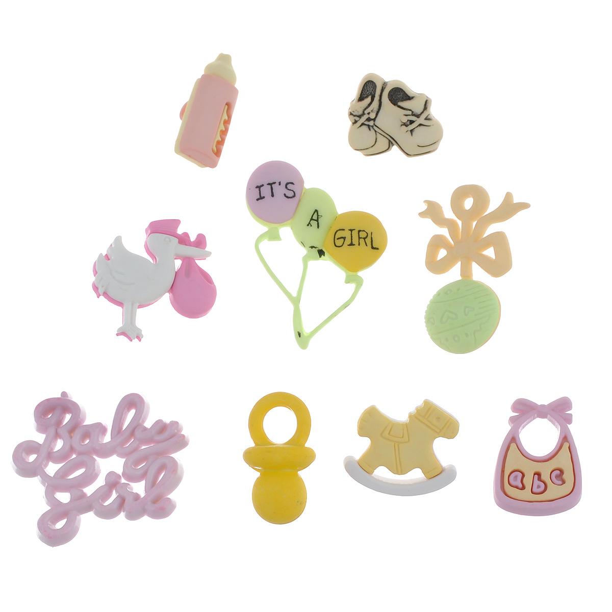 Пуговицы декоративные Buttons Galore & More Baby, 8 шт7705924Набор Buttons Galore & More Baby состоит из 5 декоративных пуговиц на ножке и 3 элементов, которые можно приклеить. Изделия выполнены из пластика в форме детских игрушек, соски, аиста, шариков. Предметы набора подходят для любых видов творчества: скрапбукинга, декорирования, шитья, изготовления кукол, а также для оформления одежды. С их помощью вы сможете украсить открытку, фотографию, альбом, подарок и другие предметы ручной работы. Изделия имеют оригинальный и яркий дизайн. Средний размер пуговицы: 2 см х 2,2 см х 1 см.