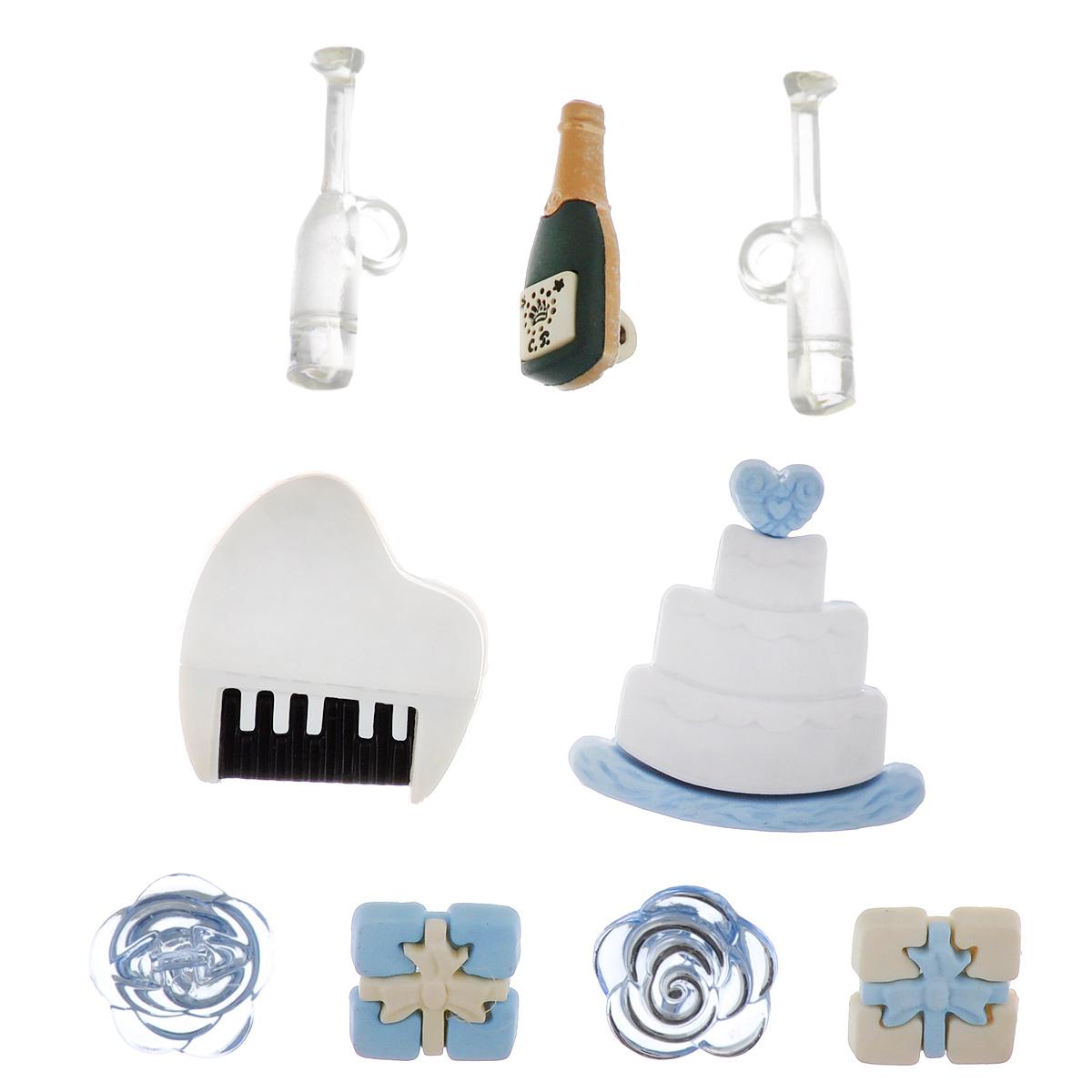 Пуговицы декоративные Buttons Galore & More Wedding, 9 шт7705852Набор Buttons Galore & More Wedding состоит из 9 декоративных пуговиц на ножке, выполненных из пластика в форме тортика, бутылки, цветов, бокалов. Предметы набора подходят для любых видов творчества: скрапбукинга, декорирования, шитья, изготовления кукол, а также для оформления одежды. С их помощью вы сможете украсить открытку, фотографию, альбом, подарок и другие предметы ручной работы. Изделия имеют оригинальный и яркий дизайн. Средний размер пуговицы: 0,6 см х 2,8 см х 0,9 см.