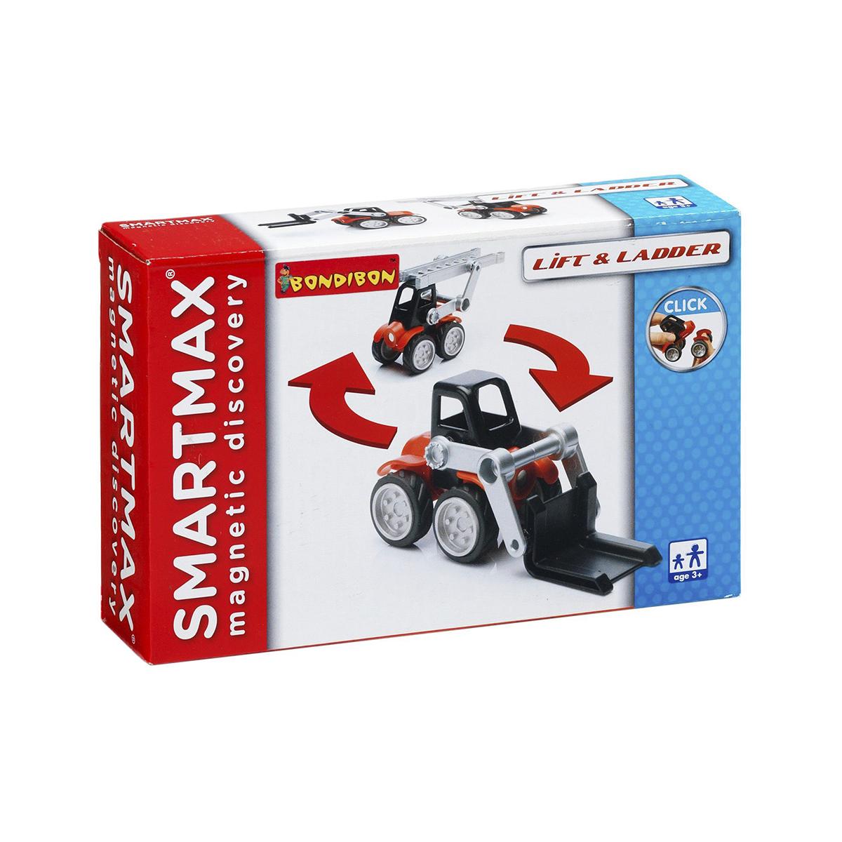 Bondibon Конструктор магнитный Smartmax СпецтехникаВВ0901Вам хочется угодить ребенку так, чтобы удовлетворить его потребность в пополнении спецтехники в его игрушечном гараже, еще одним конструктором и свою потребность в свободном времени? Значит, вам точно нужен именно такой конструктор! Благодаря крупным и легким деталям этот конструктор подходит для детей уже от 3 лет. В набор «Спецтехника» входит 7 деталей: 1 магнитная палочка SmartMax (короткая, 7 см); 2 пары колес; 1 кабина грузового автомобиля; 1 подъемник; 1 вилы погрузчика; 1 лестница. Колеса закреплены на металлической оси и обуты в настоящие резиновые шины. Детали, не содержащие магнитов, имеют простые и удобные крепления. Палочка имеет оболочку, сделанную из высококачественной пластмассы, и сердцевину – достаточно сильный магнит. Магнит держится внутри очень прочно, и его выпадение во время игры исключено. Этот мини-набор прекрасно подходит для первого знакомства ребенка с магнитными конструкторами. По картинке он соберет 2 модели: пожарную машину с лестницей и...