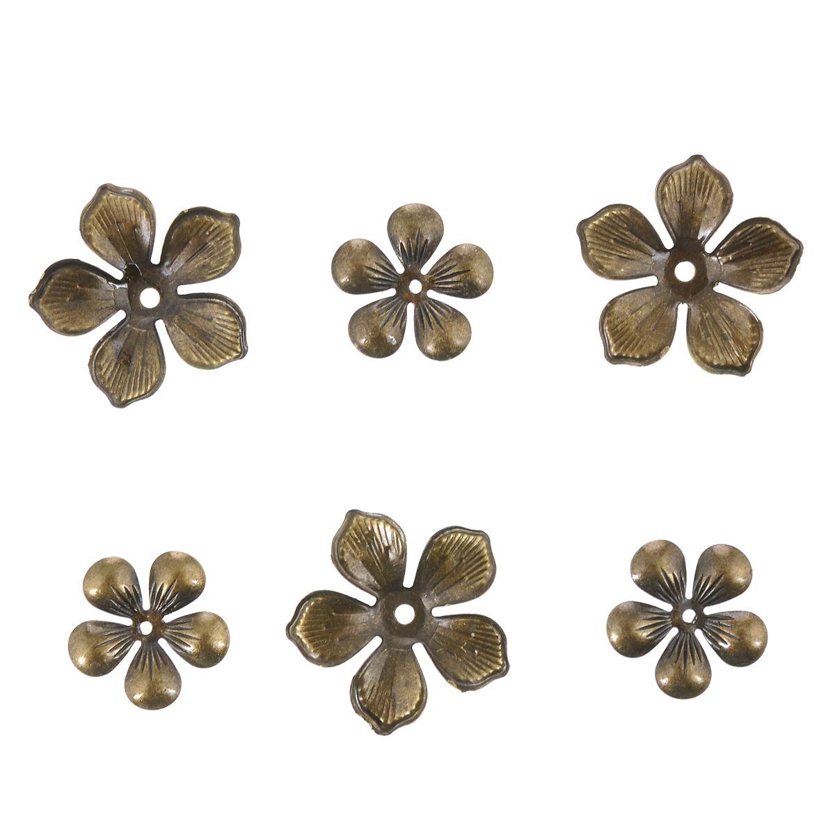 Декоративный элемент ScrapBerrys, цвет: бронзовый, 6 штSCB0707003Набор ScrapBerrys изготовлен из металла и предназначен для декорирования в различных техниках. С их помощью вы сможете украсить альбом, одежду, подарок и другие предметы ручной работы. Декоративные элементы в наборе изготовлены в виде цветков. Скрапбукинг - это хобби, которое способно приносить массу приятных эмоций не только человеку, который этим занимается, но и его близким, друзьям, родным. Это невероятно увлекательное занятие, которое поможет вам сохранить наиболее памятные и яркие моменты вашей жизни, а также интересно оформить интерьер дома. Диаметр элемента: 17 мм, 24 мм.