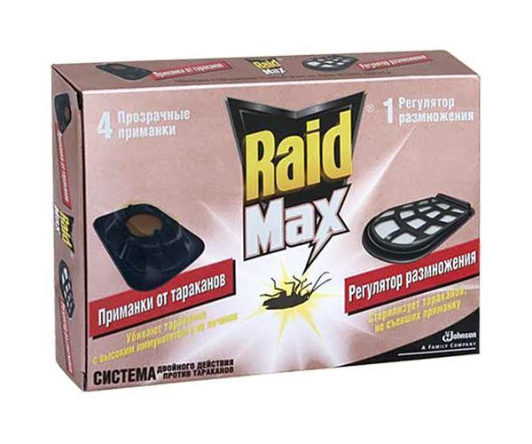 """Средство от тараканов Raid """"Max"""": 4 приманки, регулятор размножения"""