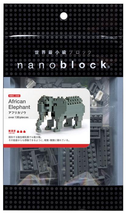 Nanoblock Мини-конструктор Африканский слонNBC_035Африканский саванный слон - самое крупное из современных наземных позвоночных. Населяет огромную территорию к югу от Сахары. Одна из ярких особенностей этого вида слонов - огромные уши. Слон собирается из 120 кирпичиков Наноблок. Несмотря на это, готовая фигурка легко поместится на ладони! Особенности этого объекта - подвижные уши и длинный хобот. В комплекте: более 120 элементов + запасные, подставка-стенд, цветная схема сборки. Конструктор Nanoblock - самый маленький в мире конструктор, крайне необычный, как все японское. Высокоточные трехмерные модели из деталей подобных Лего, но предельно уменьшенных в размерах, стали хитом в Японии и буквально произвели фурор в Америке, Европе, Азии и Австралии. Самая маленькая деталь конструктора - 4 мм х 4 мм, а классический прямоугольный элемент 2-на-4 точки имеет размер 8 мм х 16 мм и 5 мм высотой. Запатентованный дизайн деталей и высочайшее качество пластика обеспечивают надежное соединение даже при...