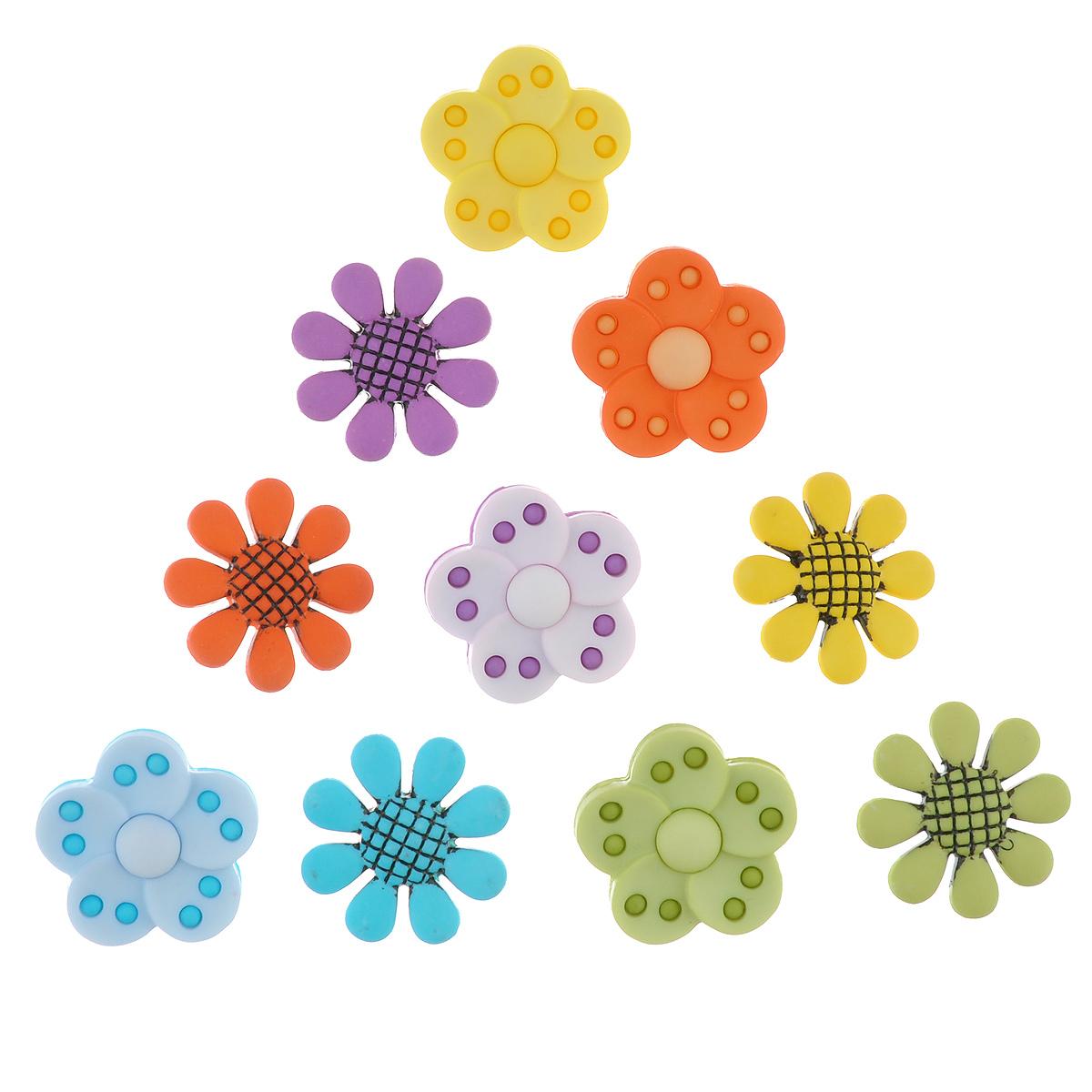 Пуговицы декоративные Buttons Galore & More Craft Buttons, 10 шт7708794Набор Buttons Galore & More Craft Buttons состоит из 10 декоративных пуговиц на ножке, выполненных из пластика в форме разноцветных цветов. Предметы набора подходят для любых видов творчества: скрапбукинга, декорирования, шитья, изготовления кукол, а также для оформления одежды. С их помощью вы сможете украсить открытку, фотографию, альбом, подарок и другие предметы ручной работы. Изделия имеют оригинальный и яркий дизайн. Размер пуговиц: 2,1 см х 2,1 см х 1 см, 2,3 см х 2,3 см х 0,8 см.