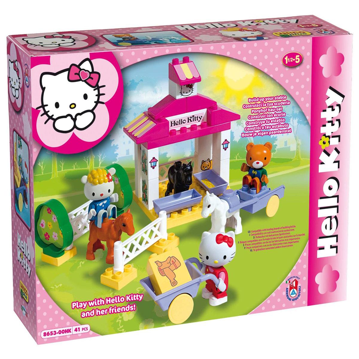 Hello Kitty Конструктор Androni Giocattoli Конюшня8653-00HKКонструктор Androni Giocattoli Hello Kitty: Конюшня обязательно порадует вашу малышку и не позволит ей скучать. Игровой набор состоит из 41 детали конструктора, выполненных из безопасного высококачественного пластика ярких цветов (детали для сборки фермы, фигурки персонажей, фигурки лошадок, элементы декора, аксессуары). Из элементов конструктора малышка сможет собрать ферму, где Kitty с друзьями смогут покормить лошадок, покататься на них верхом и на повозке. Красочные фигурки Hello Kitty и ее друзей будут очень интересны вашему ребенку. У фигурок двигаются ручки и ножки. С любимыми героями ребенок может играть как один, так и в компании с другими детьми, придумывая свои интересные истории. Благодаря играм, в которых ребенок собирает из деталей целое, придумывает различные сюжеты, развивается мелкая моторика рук, пространственное мышление, воображение и творческие способности малыша. Детали конструктора совместимы с игрушечными строительными элементами известных...