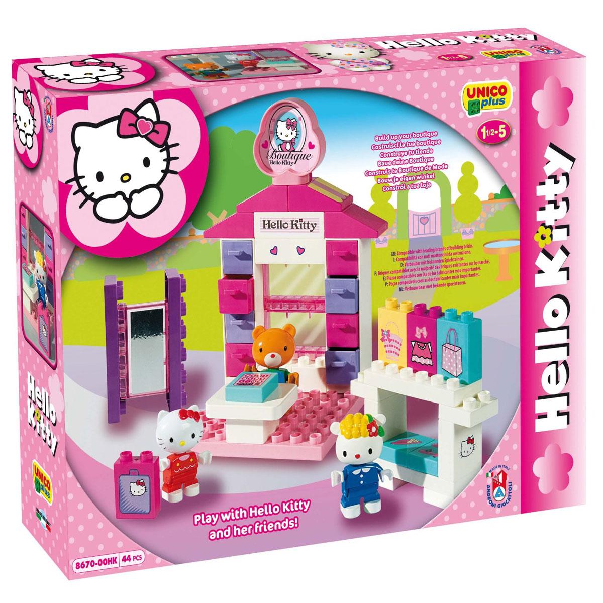 Hello Kitty Конструктор Androni Giocattoli Магазин8670-00HKКонструктор Androni Giocattoli Hello Kitty: Магазин непременно порадует вашу малышку и не позволит ей скучать. Игровой набор состоит из 44 деталей конструктора, выполненных из безопасного высококачественного пластика ярких цветов (детали для сборки прилавка магазина, витрины, кассы, примерочной, фигурки персонажей, элементы декора, аксессуары). Из элементов конструктора малышка сможет собрать мини-магазин, где Kitty с друзьями смогут прикупить себе модные обновки. Красочные фигурки Hello Kitty и ее друзей будут очень интересны вашему ребенку. У фигурок двигаются ручки и ножки. С любимыми героями ребенок может играть как один, так и в компании с другими детьми, придумывая свои интересные истории. Благодаря играм, в которых ребенок собирает из деталей целое, придумывает различные сюжеты, развивается мелкая моторика рук, пространственное мышление, воображение и творческие способности малыша. Детали конструктора совместимы с игрушечными строительными...