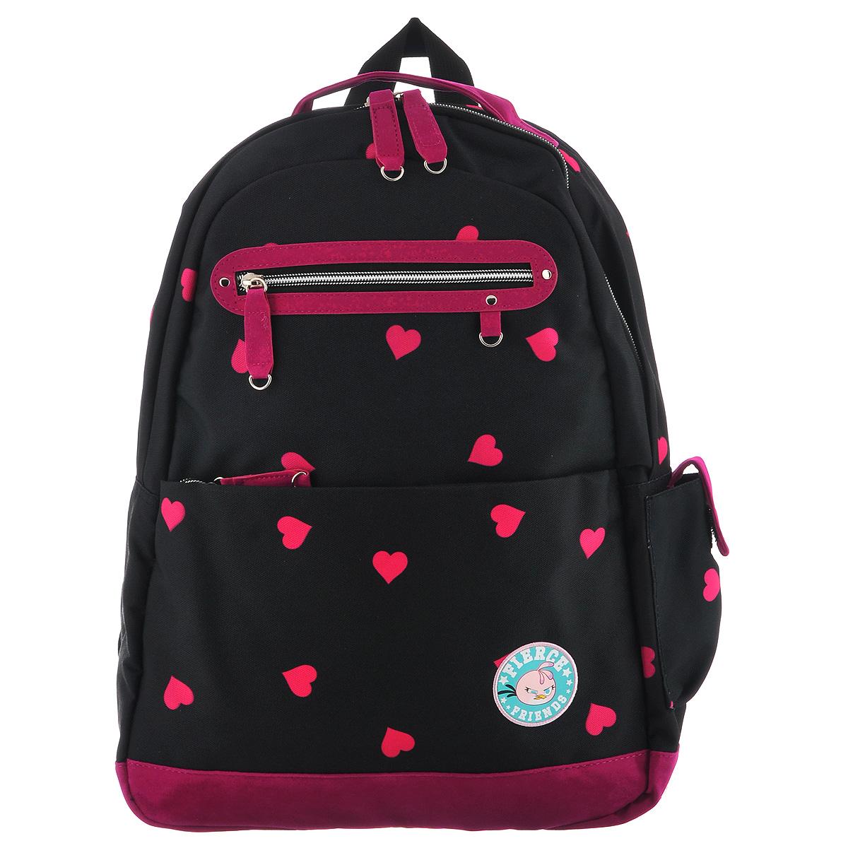 Рюкзак молодежный Angry Birds Stella, цвет: черный, темно-розовый. NRk_00632NRk_00632Рюкзак молодежный Angry Birds Stella сочетает в себе современный дизайн, функциональность и долговечность. Выполнено изделие из прочных, высококачественных материалов черного и темно-розового цветов. Содержит рюкзак одно вместительное отделение, закрывающееся на застежку-молнии с двумя бегунками. Лицевая сторона оснащена двумя карманами на молнии: накладным и прорезным. Сбоку имеется карман, закрывающийся хлястиком на липучке. Рюкзак оснащен регулируемыми по длине широкими плечевыми лямками, дополнен текстильной ручкой для переноски, а также петлей для подвешивания. Этот рюкзак разработан специально для людей стильных и модных, любящих быть в центре внимания. Рекомендуемый возраст: от 10 лет.