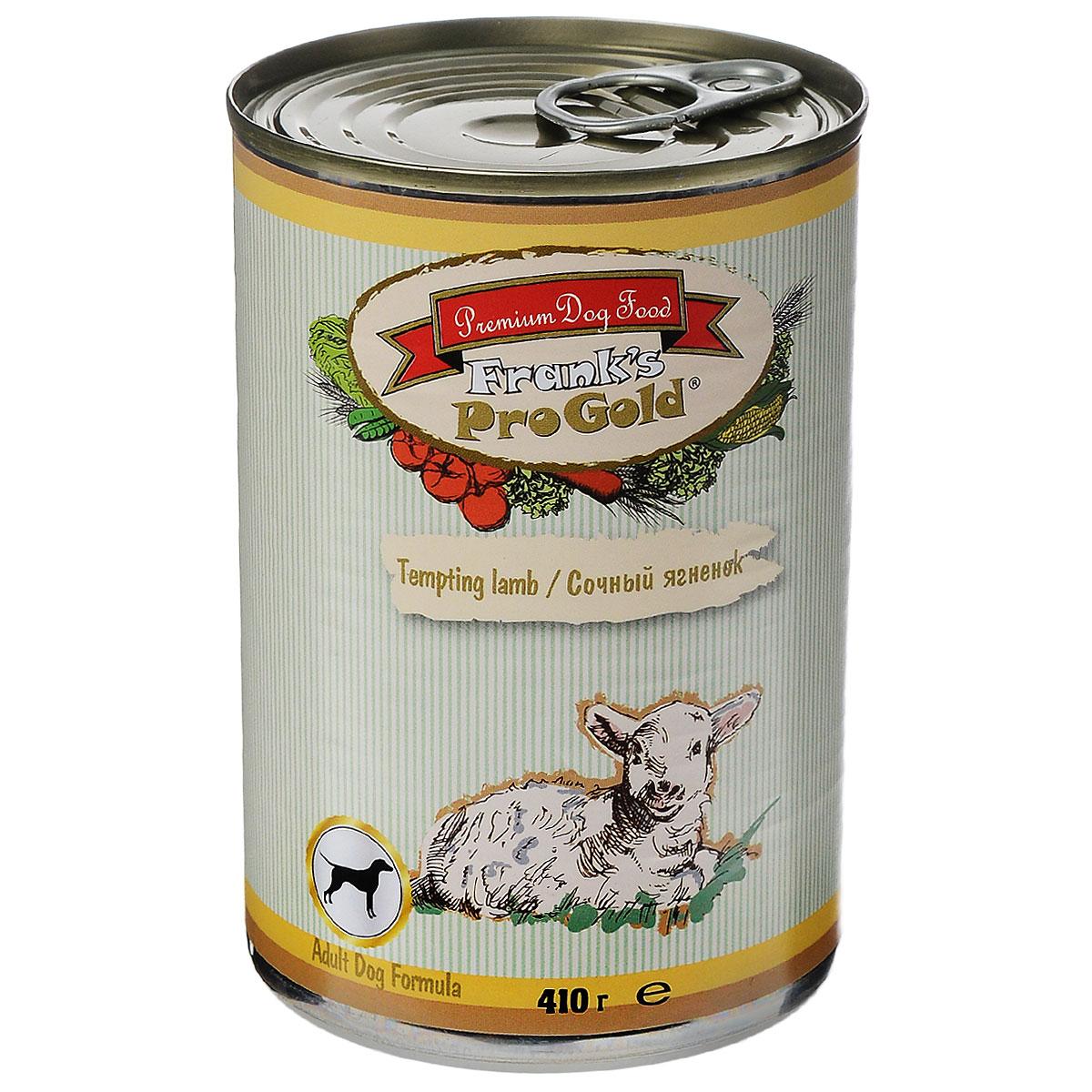 Franks ProGold Консервы для собак Сочный ягненок (Tempting lamb Adult Dog Recipe), 410 г.19418Полнорационный корм для собак. Состав: мясо курицы, ягненок, мясо и его производные, злаки, витамины и минералы. Пищевая ценность: влажность 81 %,белки 6,5 %, жиры 4,5 %, зола 2 %, клетчатка 0,5. Добавки: Витамин A 1600 IU, Витамин D 140 IU, Витамин E 10 IU, Iron E1 24 mg, Железо E1 24 мг/кг, Марганец E5 6 мг/кг, Цинк E6 15 мг/кг, Иодин E2 0,3 мг/кг. Калорийность: 393,6 калл. Условия хранения: в прохладном темном месте.