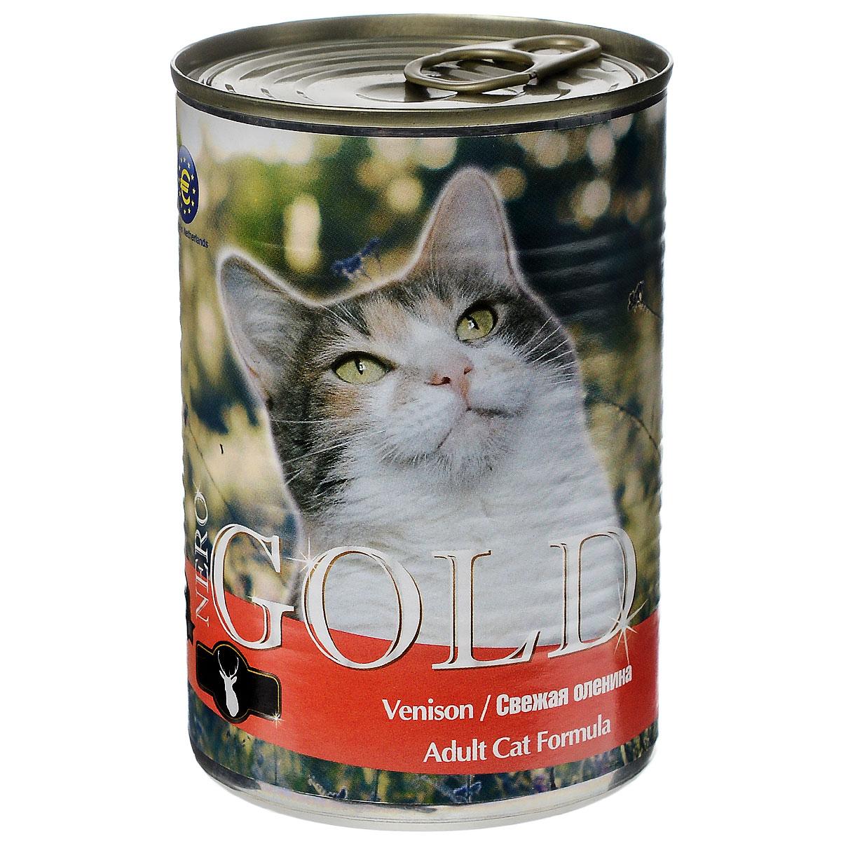 Консервы для кошек Nero Gold, свежая оленина, 410 г24484Консервы для кошек Nero Gold - полнорационный продукт, содержащий все необходимые витамины и минералы, сбалансированный для поддержания оптимального здоровья вашего питомца! Состав: мясо и его производные, филе курицы, оленина, злаки, витамины и минералы. Гарантированный анализ: белки 6%, жиры 4,5%, клетчатка 0,5%, зола 2%, влага 81%. Пищевые добавки на 1 кг продукта: витамин А 1600 МЕ, витамин D 140 МЕ, витамин Е 10 МЕ, таурин 300 мг, железо 24 мг, марганец 6 мг, цинк 15 мг, медь 1 мг, магний 200 мг, йод 0,3 мг, селен 0,2 мг. Вес: 410 г. Товар сертифицирован.