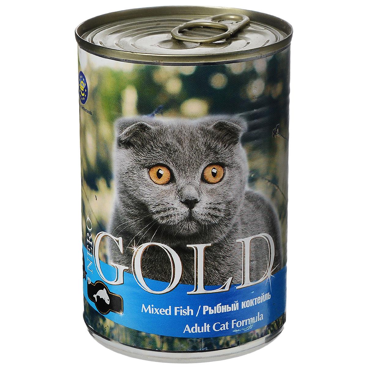 Консервы для кошек Nero Gold, рыбный коктейль, 410 г20254Консервы для кошек Nero Gold - полнорационный продукт, содержащий все необходимые витамины и минералы, сбалансированный для поддержания оптимального здоровья вашего питомца! Состав: мясо и его производные, филе курицы, филе рыбы, злаки, витамины и минералы. Гарантированный анализ: белки 6%, жиры 4,5%, клетчатка 0,5%, зола 2%, влага 81%. Пищевые добавки на 1 кг продукта: витамин А 1600 МЕ, витамин D 140 МЕ, витамин Е 10 МЕ, таурин 300 мг, железо 24 мг, марганец 6 мг, цинк 15 мг, медь 1 мг, магний 200 мг, йод 0,3 мг, селен 0,2 мг. Вес: 410 г. Товар сертифицирован.