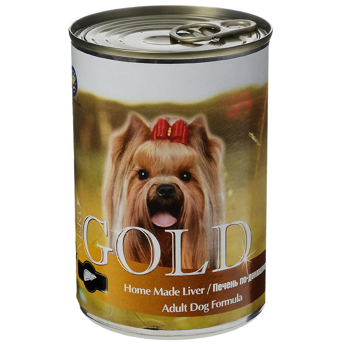 Консервы для собак Nero Gold, с печенью по-домашнему, 410 г10276Консервы для собак Nero Gold - полнорационный продукт, содержащий все необходимые витамины и минералы, сбалансированный для поддержания оптимального здоровья вашего питомца! Состав: мясо и его производные, филе курицы, печень, злаки, витамины и минералы. Гарантированный анализ: белки 6,5%, жиры 4,5%, клетчатка 0,5%, зола 2%, влага 81%. Пищевые добавки на 1 кг продукта: витамин А 1600 МЕ, витамин D 140 МЕ, витамин Е 10 МЕ, железо 24 мг, марганец 6 мг, цинк 15 мг, медь 1 мг, магний 200 мг, йод 0,3 мг, селен 0,2 мг. Вес: 410 г. Товар сертифицирован.