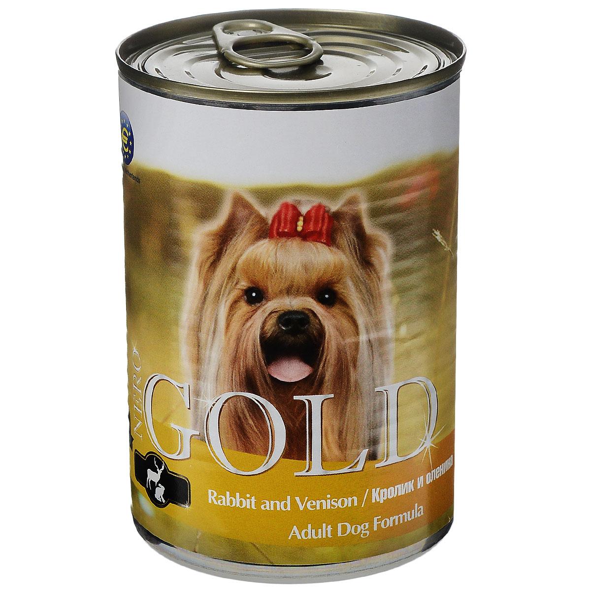 Консервы для собак Nero Gold, с кроликом и олениной, 410 г10320Консервы для собак Nero Gold - полнорационный продукт, содержащий все необходимые витамины и минералы, сбалансированный для поддержания оптимального здоровья вашего питомца! Состав: мясо и его производные, филе курицы, филе кролика, оленина, злаки, витамины и минералы. Гарантированный анализ: белки 6,5%, жиры 4,5%, клетчатка 0,5%, зола 2%, влага 81%. Пищевые добавки на 1 кг продукта: витамин А 1600 МЕ, витамин D 140 МЕ, витамин Е 10 МЕ, железо 24 мг, марганец 6 мг, цинк 15 мг, медь 1 мг, магний 200 мг, йод 0,3 мг, селен 0,2 мг. Вес: 410 г. Товар сертифицирован.