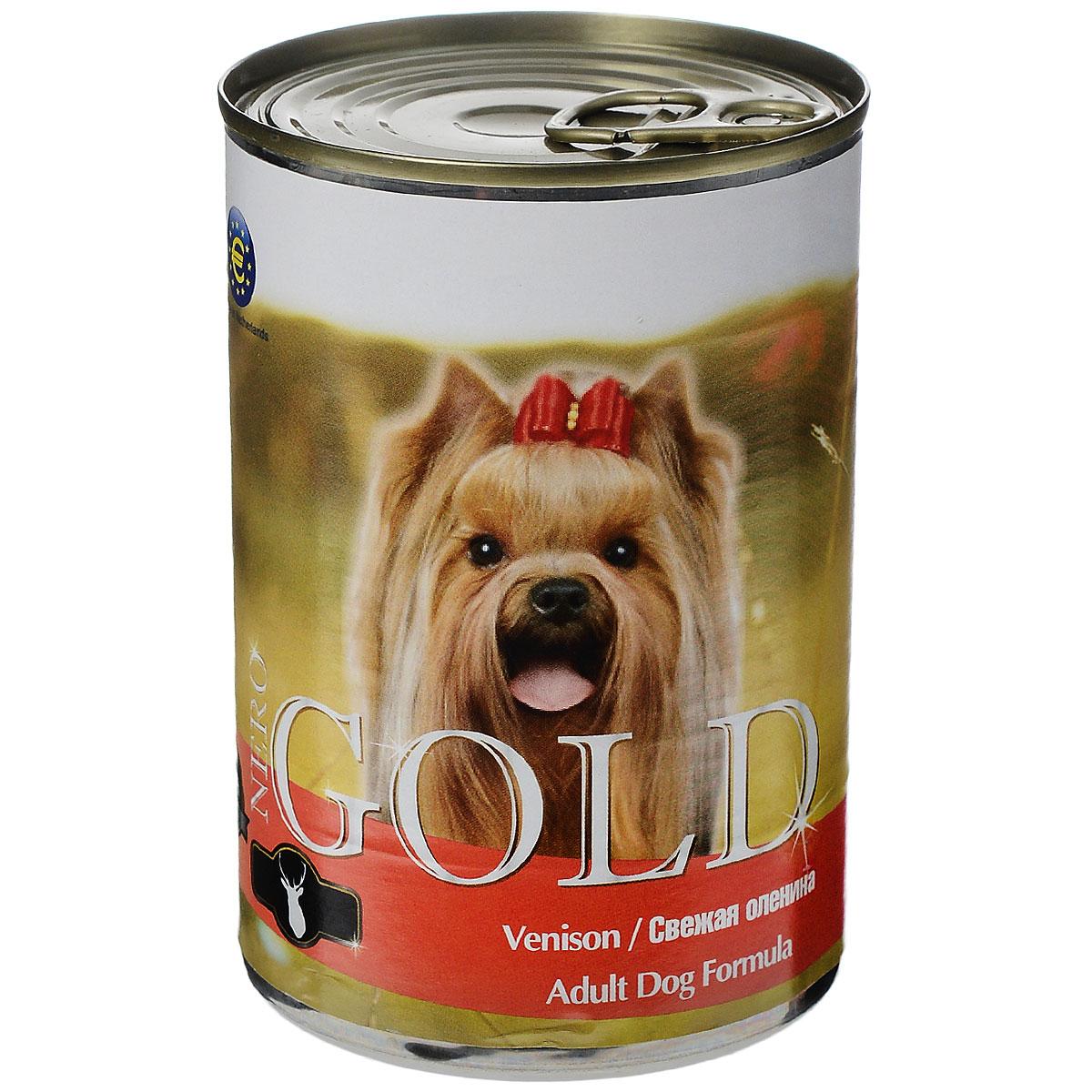 Консервы для собак Nero Gold, с олениной, 410 г10326Консервы для собак Nero Gold - полнорационный продукт, содержащий все необходимые витамины и минералы, сбалансированный для поддержания оптимального здоровья вашего питомца! Состав: мясо и его производные, филе курицы, оленина, злаки, витамины и минералы. Гарантированный анализ: белки 6,5%, жиры 4,5%, клетчатка 0,5%, зола 2%, влага 81%. Пищевые добавки на 1 кг продукта: витамин А 1600 МЕ, витамин D 140 МЕ, витамин Е 10 МЕ, железо 24 мг, марганец 6 мг, цинк 15 мг, медь 1 мг, магний 200 мг, йод 0,3 мг, селен 0,2 мг. Вес: 410 г. Товар сертифицирован.