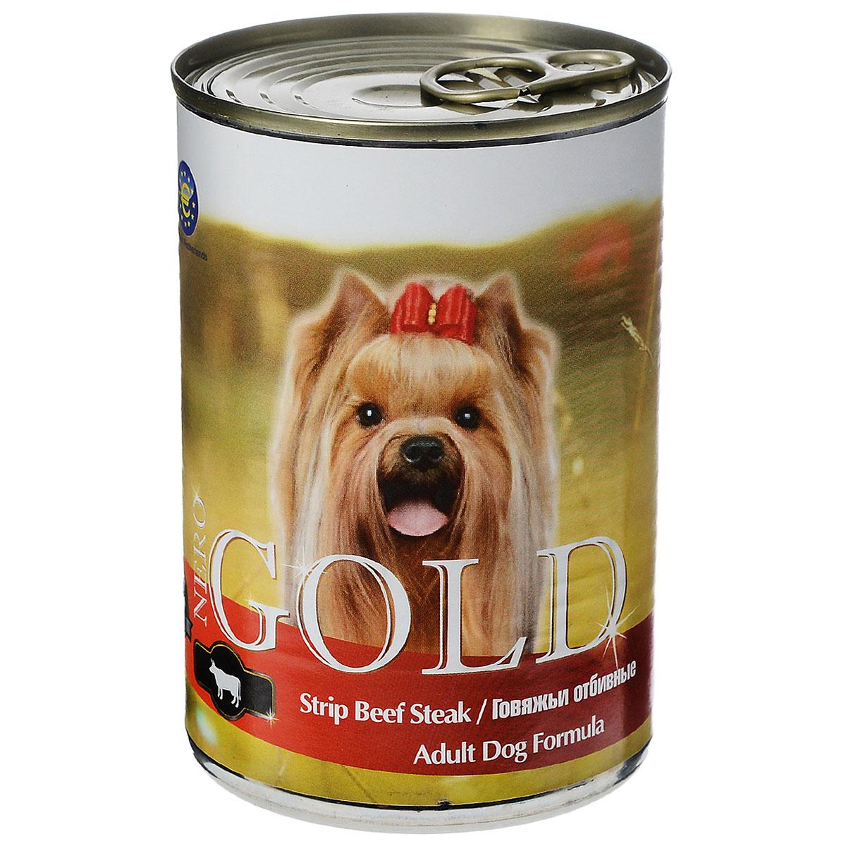 Консервы для собак Nero Gold, с говяжьей отбивной, 410 г10270Консервы для собак Nero Gold - полнорационный продукт, содержащий все необходимые витамины и минералы, сбалансированный для поддержания оптимального здоровья вашего питомца! Состав: мясо и его производные, филе курицы, говядина, злаки, витамины и минералы. Гарантированный анализ: белки 6,5%, жиры 4,5%, клетчатка 0,5%, зола 2%, влага 81%. Пищевые добавки на 1 кг продукта: витамин А 1600 МЕ, витамин D 140 МЕ, витамин Е 10 МЕ, железо 24 мг, марганец 6 мг, цинк 15 мг, медь 1 мг, магний 200 мг, йод 0,3 мг, селен 0,2 мг. Вес: 410 г. Товар сертифицирован.
