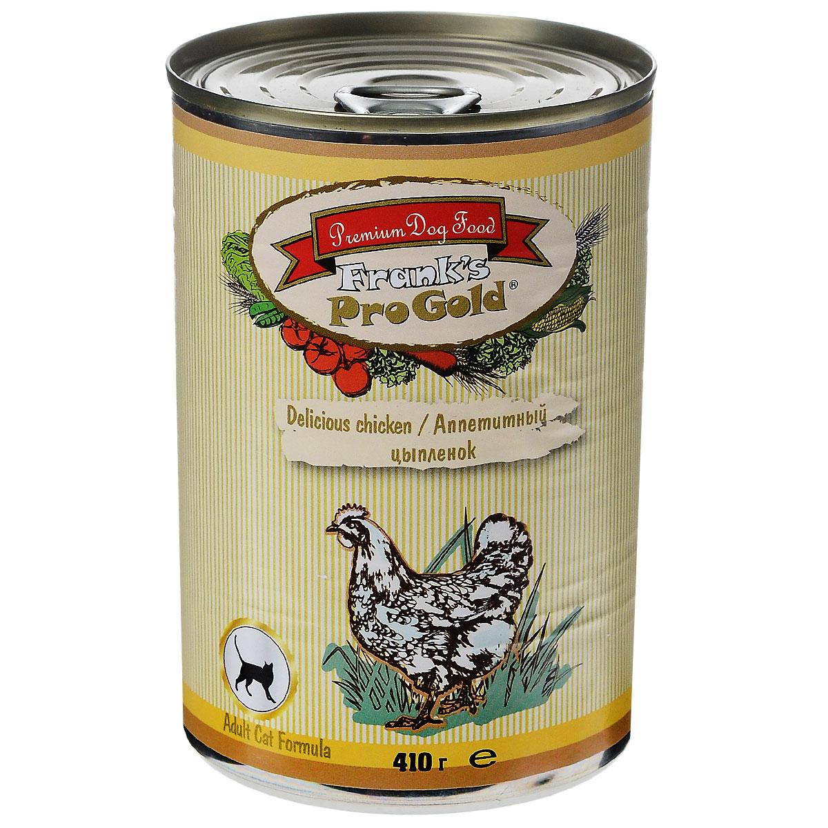 Консервы для кошек Franks ProGold, с цыпленком, 410 г24717Консервы для кошек Franks ProGold - полнорационный продукт, содержащий все необходимые витамины и минералы, сбалансированный для поддержания оптимального здоровья вашего питомца! Ваш любимец, безусловно, оценит нежнейшие кусочки мяса в желе! Произведенные из натуральных ингредиентов, консервы Franks Pro Gold не содержат ГМО, сою, искусственных красителей, консервантов и усилителей вкуса. Состав: мясо и его производные, курица, злаки, витамины и минералы. Пищевая ценность: белки 6%, жиры 4,5%, клетчатка 0,5%, зола 2%, влажность 81%. Добавки: витамин A 1600 IU, витамин D 140 IU, витамин E 10 IU, таурин 300 мг/кг, железо 24 мг/кг, марганец 6 мг/кг, цинк 15 мг/кг, медь 1 мг/кг, магний 200 мг/кг, йодин 0,3 мг/кг, селен 0,2 мг/кг. Калорийность: 393,6 ккал. Товар сертифицирован.
