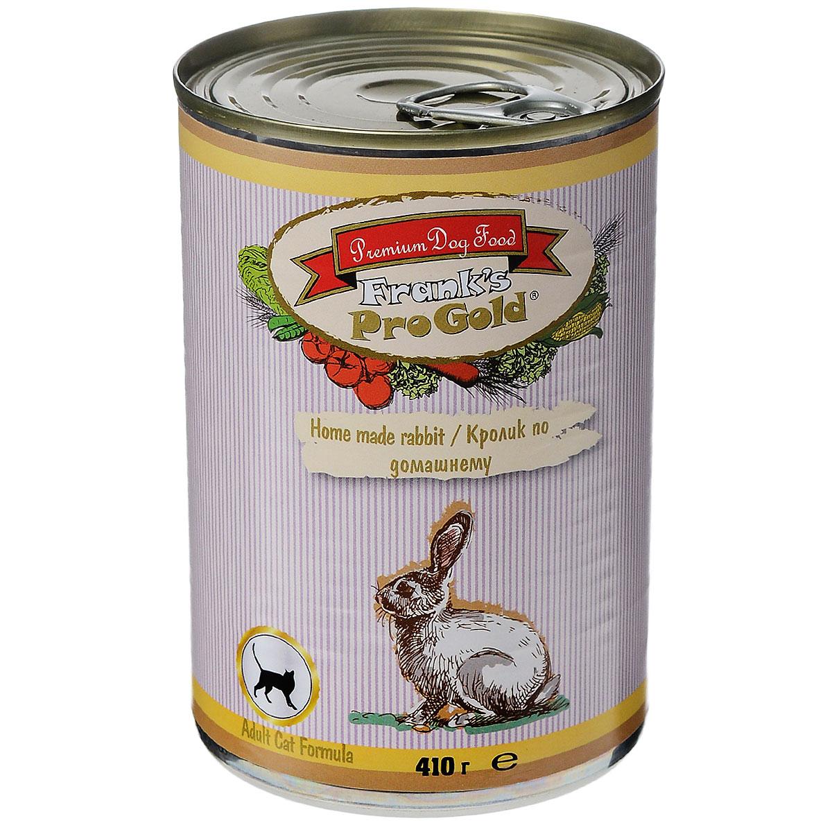 Консервы для кошек Franks ProGold, с кроликом по-домашнему, 410 г24716Консервы для кошек Franks ProGold - полнорационный продукт, содержащий все необходимые витамины и минералы, сбалансированный для поддержания оптимального здоровья вашего питомца! Ваш любимец, безусловно, оценит нежнейшие кусочки мяса в желе! Произведенные из натуральных ингредиентов, консервы Franks Pro Gold не содержат ГМО, сою, искусственных красителей, консервантов и усилителей вкуса. Состав: мясо курицы, кролик, мясо и его производные, злаки, витамины и минералы. Пищевая ценность: влажность 81%,белки 6,5%, жиры 4,5%, зола 2%, клетчатка 0,5%. Добавки: витамин A 1600 IU, витамин D 140 IU, витамин E 10 IU, таурин 300 мг/кг, железо E1 24 мг/кг, марганец E5 6 мг/кг, цинк E6 15 мг/кг, йодин E2 0,3 мг/кг. Калорийность: 393,6 ккал. Товар сертифицирован.