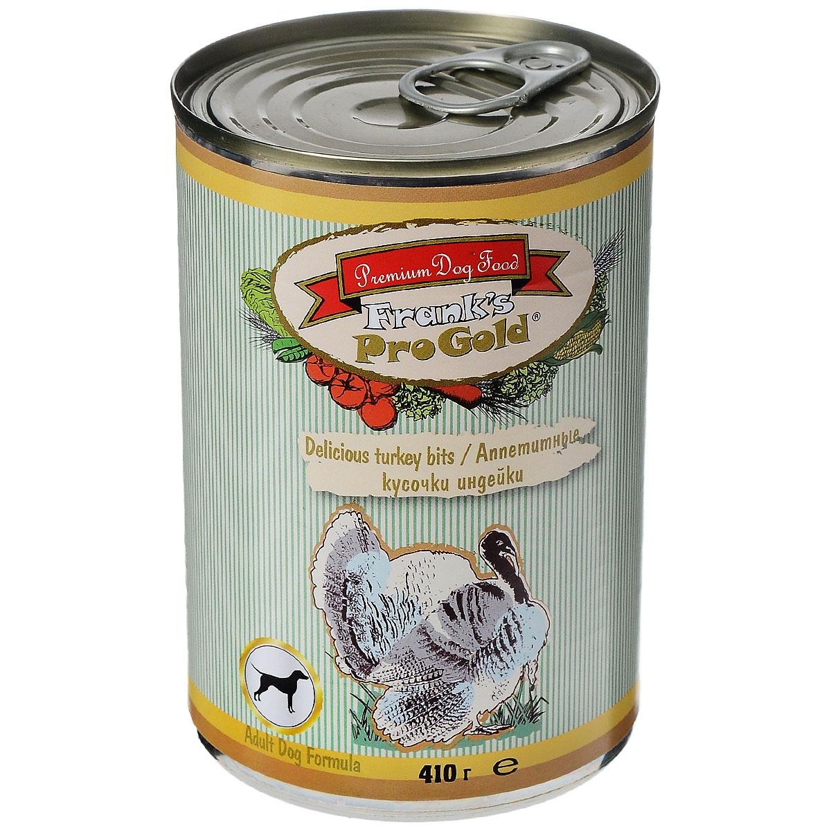 Консервы для собак Franks ProGold, с индейкой, 410 г19419Консервы для собак Franks ProGold - полнорационный продукт, содержащий все необходимые витамины и минералы, сбалансированный для поддержания оптимального здоровья вашего питомца! Ваш любимец, безусловно, оценит нежнейшие кусочки мяса в желе! Произведенные из натуральных ингредиентов, консервы Franks Pro Gold не содержат ГМО, сою, искусственных красителей, консервантов и усилителей вкуса. Состав: мясо курицы, индейка, мясо и его производные, злаки, витамины и минералы. Пищевая ценность: влажность 81%,белки 6,5%, жиры 4,5%, зола 2%, клетчатка 0,5%. Добавки: витамин A 1600 IU, витамин D 140 IU, витамин E 10 IU, железо E1 24 мг/кг, марганец E5 6 мг/кг, цинк E6 15 мг/кг, йодин E2 0,3 мг/кг. Калорийность: 393,6 ккал. Товар сертифицирован.