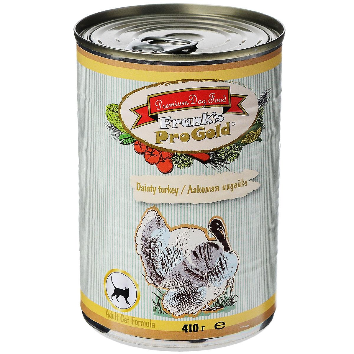 Консервы для кошек Franks ProGold, с индейкой, 410 г24715Консервы для кошек Franks ProGold - полнорационный продукт, содержащий все необходимые витамины и минералы, сбалансированный для поддержания оптимального здоровья вашего питомца! Ваш любимец, безусловно, оценит нежнейшие кусочки мяса в желе! Произведенные из натуральных ингредиентов, консервы Franks Pro Gold не содержат ГМО, сою, искусственных красителей, консервантов и усилителей вкуса. Состав: мясо курицы, индейка, мясо и его производные, злаки, витамины и минералы. Пищевая ценность: влажность 81%,белки 6,5%, жиры 4,5%, зола 2%, клетчатка 0,5%. Добавки: витамин A 1600 IU, витамин D 140 IU, витамин E 10 IU, таурин 300 мг/кг, железо E1 24 мг/кг, марганец E5 6 мг/кг, цинк E6 15 мг/кг, йодин E2 0,3 мг/кг. Калорийность: 393,6 ккал. Товар сертифицирован.
