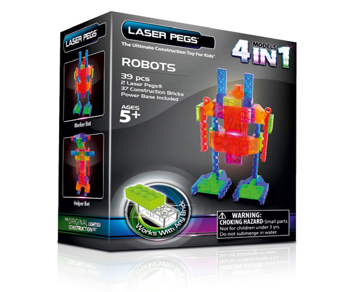 Laser Pegs Конструктор Роботы 4 в 1MPS200BЯркий конструктор Laser Pegs Роботы непременно понравится вашему малышу и не позволит ему скучать. С помощью такого конструктора малыш сможет собрать 4 разные модели роботов, руководствуясь инструкцией или полагаясь на свою фантазию. Конструктор выполнен из прочного пластика и включает в себя 61 элемент конструктора, 2 элемента со светодиодами, мобильный источник питания и подробную инструкцию на русском языке. Все элементы конструктора имеют яркие цвета и безопасны для малыша. У игрушки есть два режима свечения: обычный и мигающий. Ребенок сможет часами играть с этим конструктором, придумывая разные истории и комбинируя детали. Из разноцветных элементов разных форм и размеров, деталей со встроенными светодиодами ребенок создаст фигурки роботов. При выключенном свете модели из этого конструктора выглядит особенно эффектно, фигурку можно использовать как ночник! Игры с конструкторами помогут ребенку развить воображение, внимательность, зрительное...