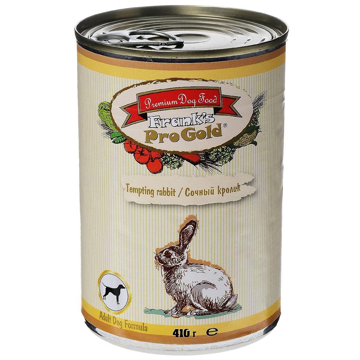 Консервы для собак Franks ProGold, с сочным кроликом, 410 г19420Консервы для собак Franks ProGold - полнорационный продукт, содержащий все необходимые витамины и минералы, сбалансированный для поддержания оптимального здоровья вашего питомца! Ваш любимец, безусловно, оценит нежнейшие кусочки мяса в желе! Произведенные из натуральных ингредиентов, консервы Franks Pro Gold не содержат ГМО, сою, искусственных красителей, консервантов и усилителей вкуса. Состав: мясо курицы, кролик, мясо и его производные, злаки, витамины и минералы. Пищевая ценность: влажность 81%,белки 6,5%, жиры 4,5%, зола 2%, клетчатка 0,5%. Добавки: витамин A 1600 IU, витамин D 140 IU, витамин E 10 IU, железо E1 24 мг/кг, марганец E5 6 мг/кг, цинк E6 15 мг/кг, йодин E2 0,3 мг/кг. Калорийность: 393,6 ккал. Товар сертифицирован.