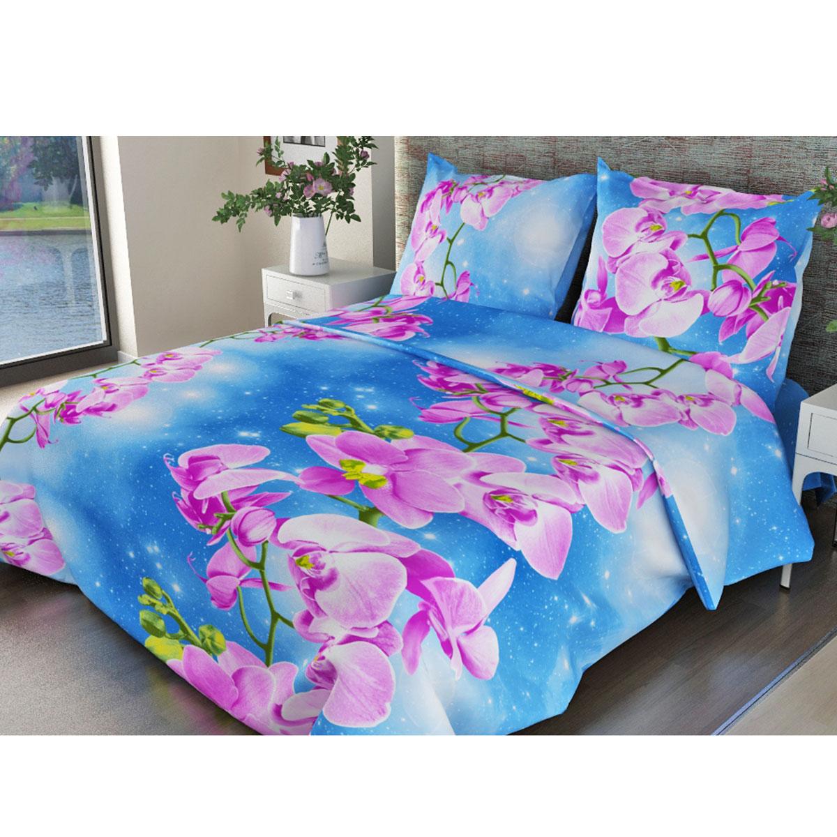 Комплект белья Fiorelly Орхидея, 1,5-спальный, наволочки 70х70, цвет: синий, розовый. F-306-143-150-70F-306-143-150-70Комплект постельного белья Fiorelly Орхидея выполнен из бязи (100% натурального хлопка). Комплект состоит из пододеяльника, простыни и двух наволочек. Постельное белье оформлено ярким красочным рисунком. Хлопчатобумажная плотная ткань полотняного переплетения приятная на ощупь, мягкая и нежная, при этом она прочная и хорошо сохраняет форму. Ткань легко гладится. Благодаря такому комплекту постельного белья вы сможете создать атмосферу роскоши и романтики в вашей спальне.