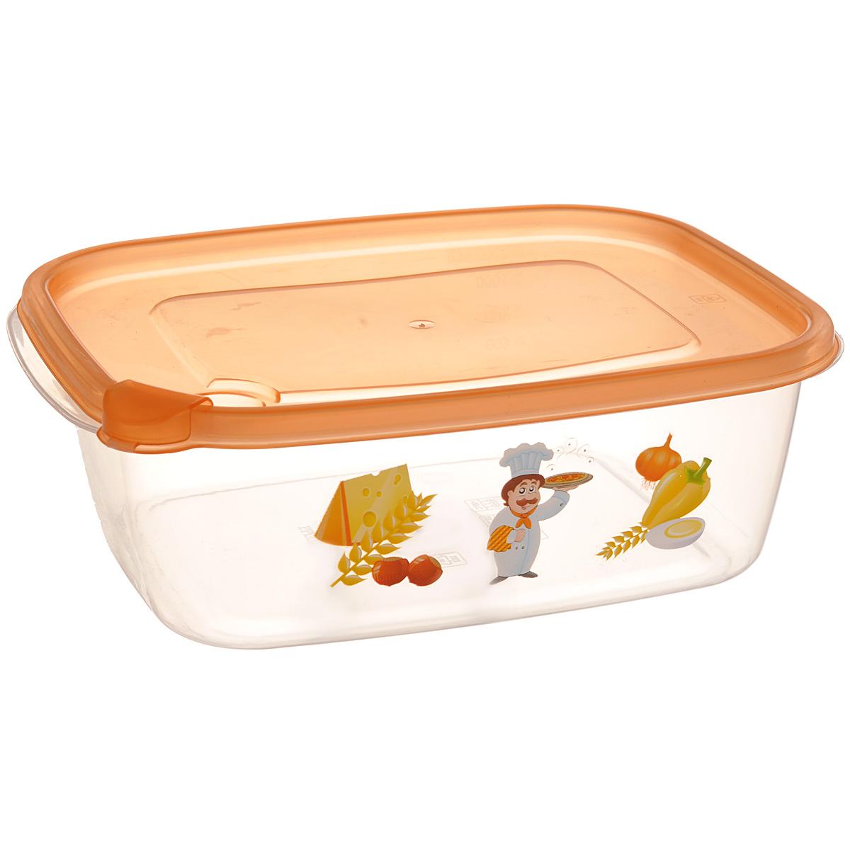 Контейнер Бытпласт Phibo, цвет: прозрачный, оранжевый, 1,25 лС11704Контейнер Бытпласт Phibo прямоугольной формы, изготовленный из прочного пластика, предназначен специально для хранения пищевых продуктов. Контейнер, декорированный изображением овощей, оснащен герметичной крышкой со специальным клапаном, благодаря которому внутри создается вакуум, и продукты дольше сохраняют свежесть и аромат. Крышка легко открывается и плотно закрывается. Прозрачные стенки позволяют видеть содержимое. Контейнер устойчив к воздействию масел и жиров, легко моется. Контейнер имеет возможность хранения продуктов глубокой заморозки, обладает высокой прочностью. Можно мыть в посудомоечной машине. Подходит для использования в микроволновых печах.
