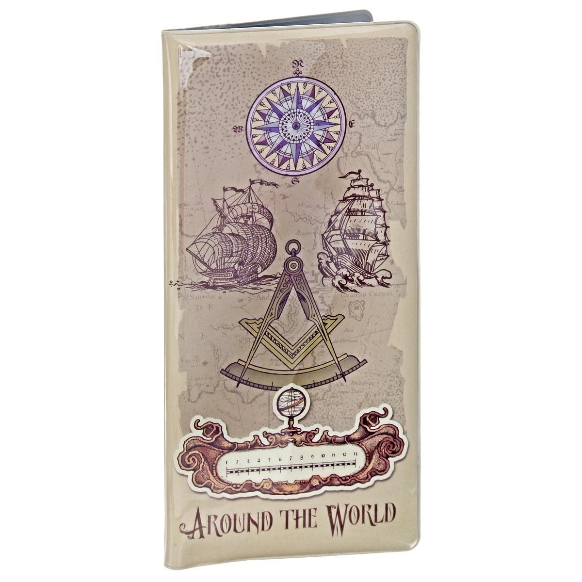 """Конверт путешественника """"Вокруг света"""", цвет: светло-коричневый. 39559 Феникс-Презент"""