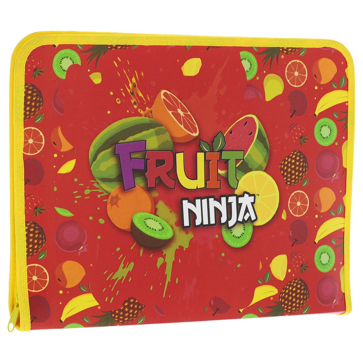 Папка для труда Action! Fruit Ninja, цвет: красный, желтыйFN-FZA4-L_красный, желтыйПапка для труда Action! Fruit Ninja предназначена для хранения тетрадей, рисунков и прочих бумаг формата А4, а также ручек, карандашей, ластиков и точилок. Папка оформлена ярким изображением различных фруктов. Внутри находится одно большое отделение с вкладышем, содержащим 18 фиксаторов для школьных принадлежностей. Закрывается папка на застежку-молнию. Яркая и удобная, такая папка непременно понравится вашему ребенку.