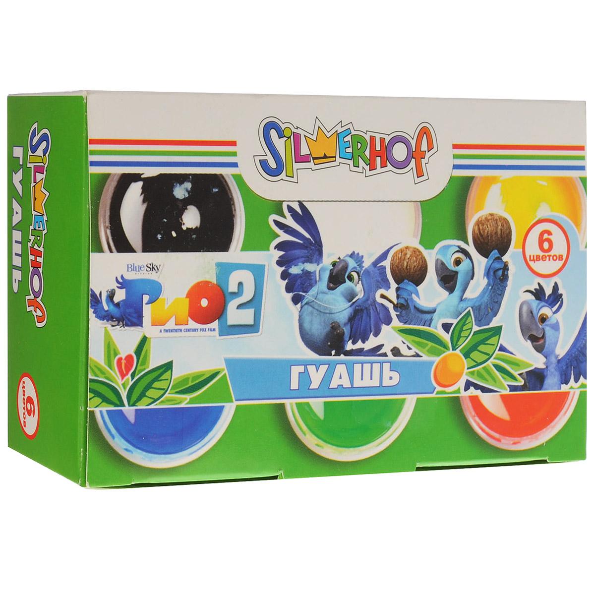 Гуашь Silwerhof Rio 2, 6 цветов962070-06Гуашь Silwerhof Rio 2 предназначена для детского творчества, выполнения художественно-декоративных, оформительских работ. Набор состоит из 6 ярких и насыщенных цветов (белый, зеленый, красный, желтый, черный, синий), обладающих однородным окрашиванием. Каждый цвет упакован в прозрачную пластиковую баночку с крышкой. Краска предназначена для рисования на бумаге и картоне. При смешивании краски получается множество новых оттенков. Работа с гуашью будет способствовать развитию творческой личности ребенка, а также развитию цветового восприятия. Рекомендуемый возраст: от 3 лет.