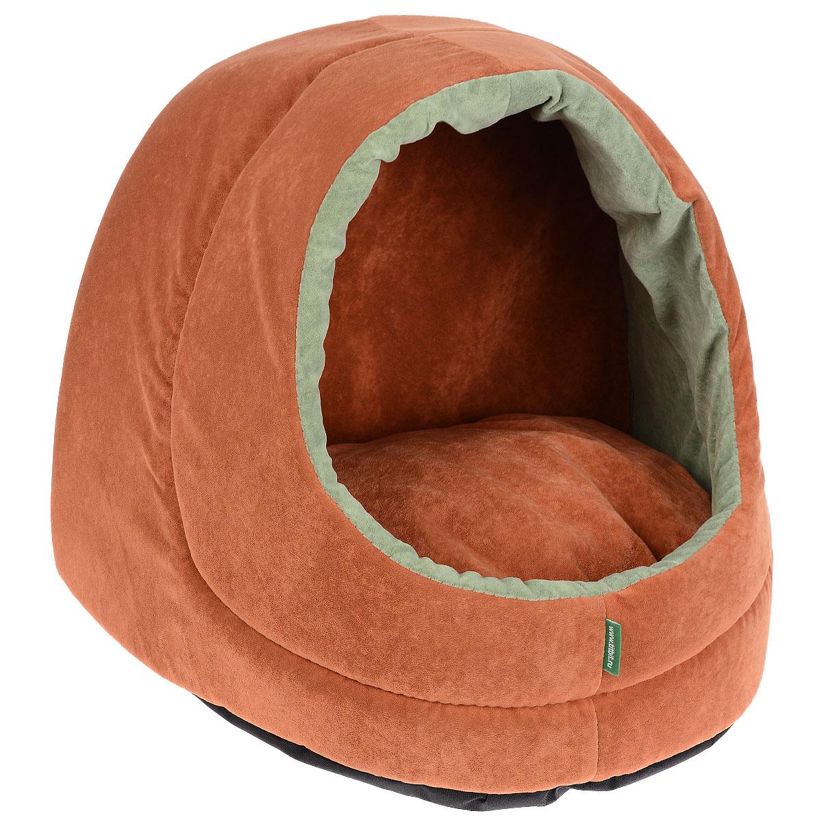 Домик для кошек и собак Titbit, цвет: оранжевый, 35 см х 40 см х 35 см3824Домик предназначен для кошек и небольших собак. Конструкция из поролона прекрасно держит форму, а отделка из флока - нежная и мягкая на ощупь. Дно домика сшито из износостойкой ткани, а внутри лежит мягкая двусторонняя подушка на синтепоне. Стильная расцветка впишется в любой интерьер. Домик от TiTBiT обеспечит Вашему питомцу уютный и комфортный отдых. Вкус: Состав: ткань мебельная флок, поролон, синтепон. ткань Оксфорд Условия хранения: сухое место.