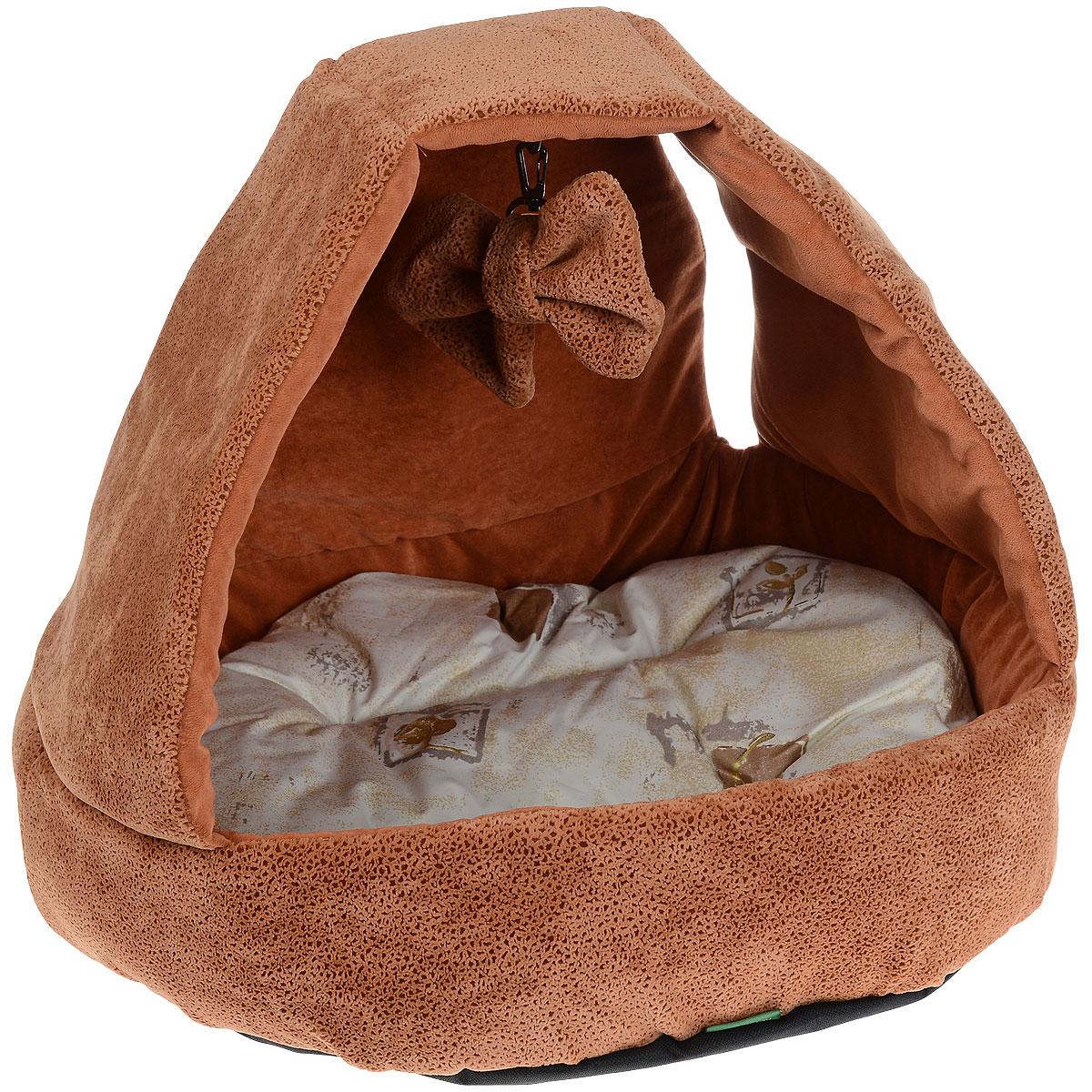 Домик для кошек и собак Titbit с игрушкой, цвет: рыжий, 43 см х 43 см х 40 см4746Домик TiTBiT с игрушкой обеспечит Вашему питомцу комфортный отдых и веселое развлечение. Предназначен для кошек и небольших собак. Конструкция из поролона прекрасно держит форму. Отделка из мебельной ткани Флок нежная и мягкая на ощупь. Дно изделия выполнено из износостойкой ткани Оксфорд. Внутри домика - мягкая подушка на синтепоне которую можно стирать в машине. И игрушка на карабине, которую можно отстегивать. Вкус: Состав: ткань мебельная флок, поролон, синтепон, ткань тик, ткань Оксфорд. Условия хранения: сухое место.
