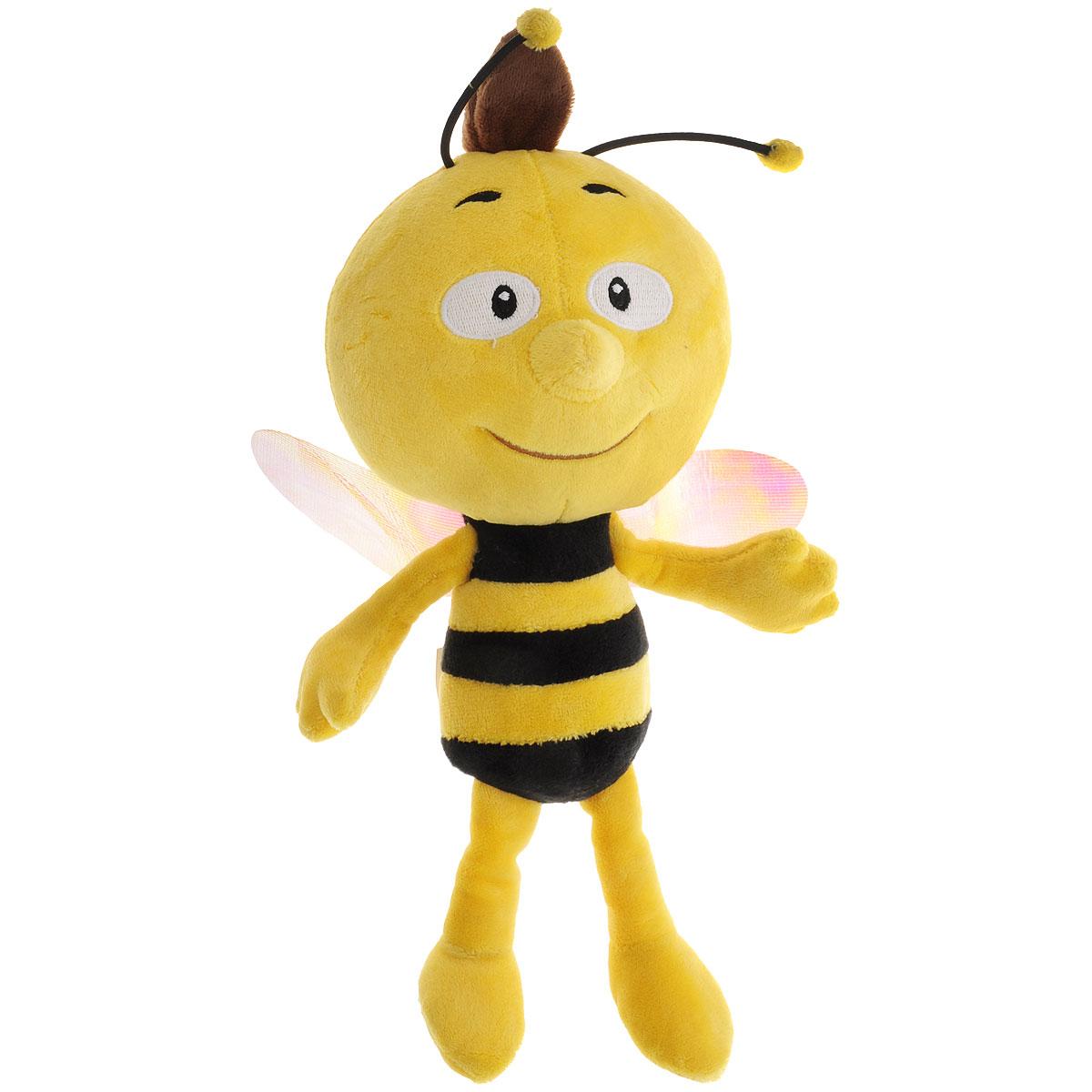 Мягкая озвученная игрушка Пчелка Майя Вилли, 30 смGT6452Забавная мягкая игрушка Пчелка Майя Вилли порадует и развеселит вас и вашего малыша. Изделие изготовлено из абсолютно безопасных и приятных на ощупь материалов в виде очаровательной пчелки Вилли с блестящими крылышками. Вилли - добродушный и ленивый трутень, лучший друг главной героини мультфильма Пчелка Майя, вместе с ней он убежал из улья. Именно ему она доверяет все свои тайны - ведь он никогда не подведет Удивительно мягкая игрушка принесет радость и подарит своему обладателю мгновения нежных объятий и приятных воспоминаний. Игрушка выполнена очень качественно и реалистично. Мягкая игрушка Вилли поет песенку из мультфильма и говорит фразы на русском языке голосом персонажа: Ну...меня зовут Вилли, Я не очень люблю учиться, поэтому когда Майя зовет меня погулять, я с удовольствием соглашаюсь, Мне так весело с Майей, Мы всегда находим чем заняться, Иногда на лугу бывает очень опасно, например, когда встречаешь огромную жабы, которая хочет тебя съесть, Майя всегда...
