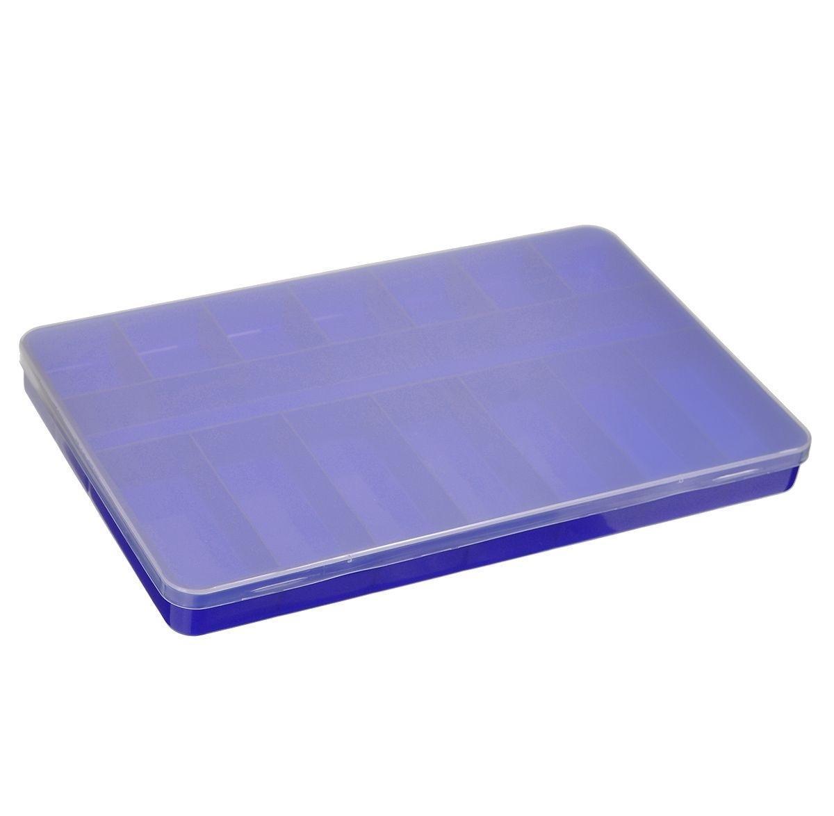 Контейнер для мелочей Trivol, цвет: сине-фиолетовый, прозрачный, 23 х 14 х 2 см 677255677255_фиолетовыйКонтейнер для мелочей Trivol изготовлен из прочного полипропилена. Предназначен для хранения мелких бытовых мелочей, принадлежностей для шитья. Контейнер оснащен плотно закрывающейся крышкой, которая предотвратит просыпание и потерю мелких вещиц. Контейнер имеет одно вытянутое, 7 прямоугольных и 7 квадратных секций. Контейнер для мелочей сохранит ваши вещи в порядке. Размер самой большой секции: 22,3 см х 22,7 см х 2 см. Размер самой маленькой секции: 3,5 см х 3 см х 2 см.