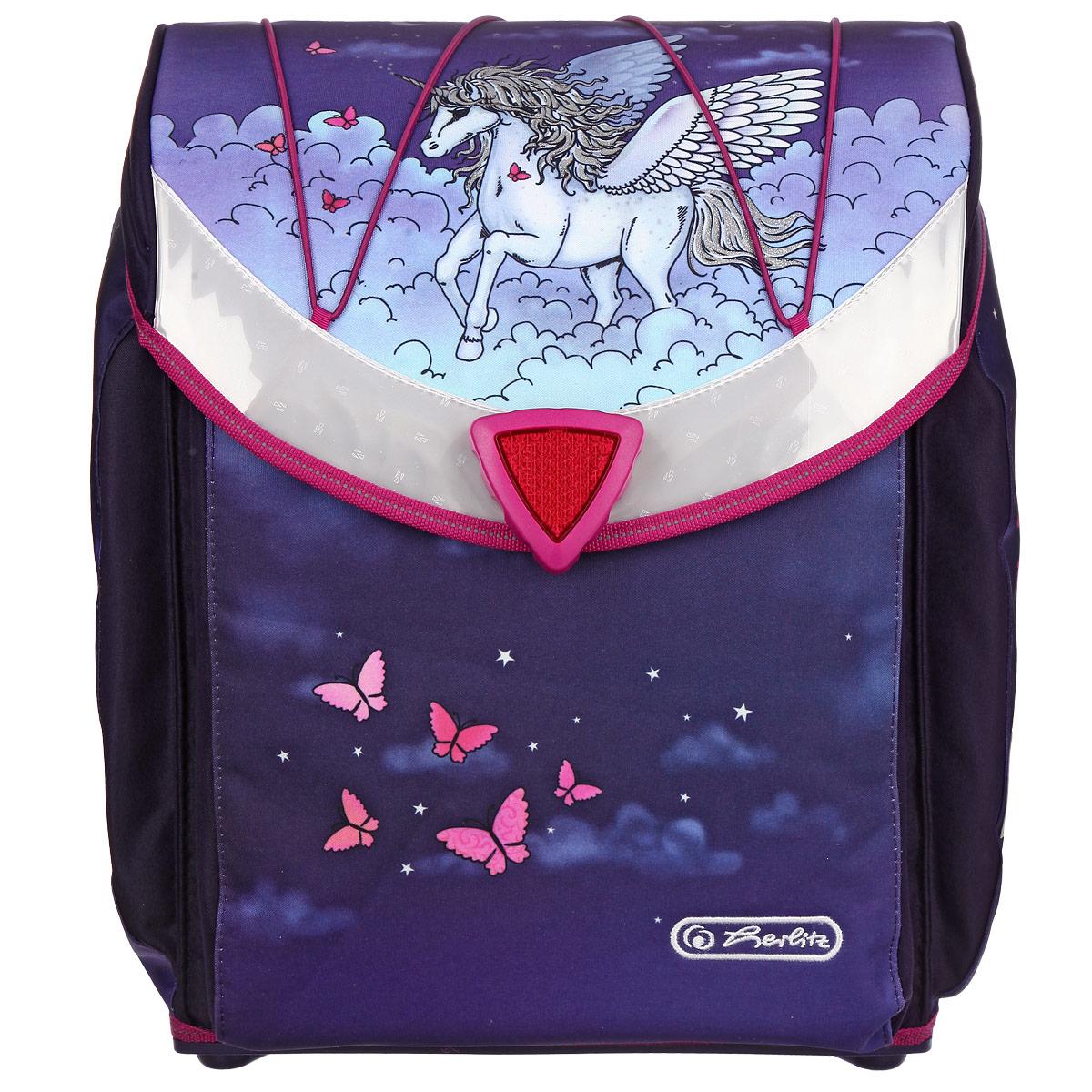 Ранец школьный Herlitz Flexi Pegasus, цвет: фиолетовый11280062Школьный ранец Herlitz Flexi Pegasus станет для вашего ребенка надежным спутником в получении знаний. Ранец с жестким корпусом выполнен из прочного водооталкивающего материала фиолетового цвета и оформлен изображением пегаса. Ранец содержит два вместительных отделения. Внутри одного из них находится фиксатор для тетрадей и учебников. Внутри второго отделения расположены текстильная перегородка с уплотнителем и большой карман-сеточка на застежке-молнии. Ранец закрывается клапаном с поворачивающейся магнитной защелкой. На внутренней части клапана находятся два пластиковых кармашка, в которые можно поместить расписание уроков и визитку с личными данными владельца. Сверху на клапане имеется эластичная шнуровка, с помощью которой на ранце можно закрепить куртку. По бокам ранца расположены два внешних потайных кармана, которые закрываются на застежки-молнии. Бегунки на застежках дополнены металлическими держателями с надписью Herlitz. ...