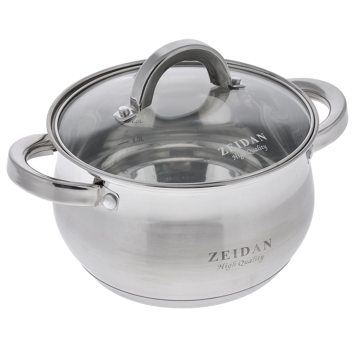 Кастрюля Zeidan с крышкой, 3 лZ-50238Кастрюля Zeidan изготовлена из высококачественной нержавеющей стали, имеет капсулированное дно, которое обеспечивает наилучшее распределение тепла. Кастрюля оформлена сочетанием зеркальной и матовой полировок. Прозрачная крышка, выполненная из термостойкого стекла, позволяет следить за процессом приготовления пищи. На внутренней стенке кастрюли расположена шкала литража. Кастрюля подходит для газовых, электрических, галогеновых, стеклокерамических и индукционных плит. Пригодна для мытья в посудомоечной машине. Диаметр (по верхнему краю): 19,5 см. Ширина (с учетом ручек): 26 см. Высота стенок: 11,5 см. Толщина стенок: 3 мм. Толщина дна: 4 мм.