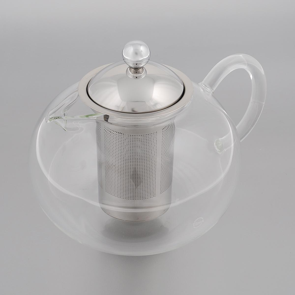 Чайник заварочный TimA Бергамот, 1,5 лTB-1500Заварочный чайник TimA Бергамот изготовлен из термостойкого боросиликатного стекла - прочного износостойкого материала. Чайник оснащен фильтром и крышкой из нержавеющей стали. Простой и удобный чайник поможет вам приготовить крепкий, ароматный чай. Дизайн изделия создает гипнотическую атмосферу через сочетание полупрозрачного цвета и хромированных элементов. Можно мыть в посудомоечной машине. Не использовать в микроволновой печи. Диаметр (по верхнему краю): 7,5 см. Высота (без учета крышки): 10,5 см. Высота фильтра: 10 см.