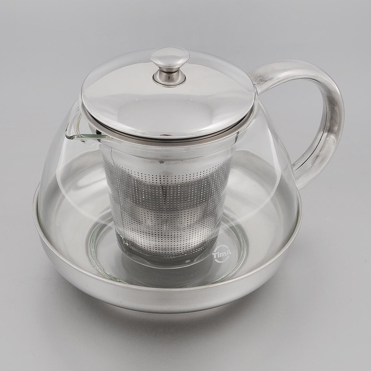 Чайник заварочный TimA Лотос, 1 лTL-100Заварочный чайник TimA Лотос изготовлен из термостойкого боросиликатного стекла - прочного износостойкого материала. Чайник оснащен фильтром, крышкой, основанием и ручкой из нержавеющей стали. Простой и удобный чайник поможет вам приготовить крепкий, ароматный чай. Дизайн изделия создает гипнотическую атмосферу через сочетание полупрозрачного цвета и хромированных элементов. Можно мыть в посудомоечной машине. Не использовать в микроволновой печи. Диаметр (по верхнему краю): 8,5 см. Высота (без учета крышки): 9,5 см. Высота фильтра: 8,7 см.