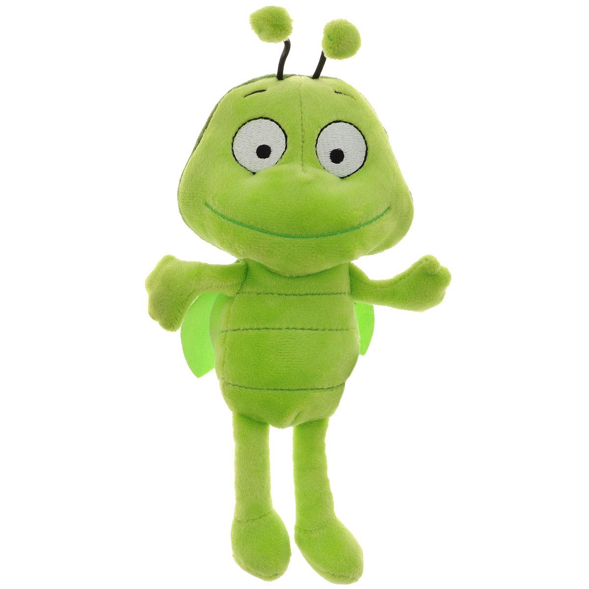 Игрушка мягкая Пчелка Майя Бен, цвет: зеленый, 22 см. GT6453GT6453Мягкая игрушка Бен выполнена очень качественно и реалистично, очень приятная на ощупь. Понравится маленьким любителям известного мультфильма Приключения пчелки Майи. Игрушка русифицирована, Бен поет песенку из мультфильма и говорит 7 фраз. Для работы игрушки необходимы 2 батарейки типа АА (входят в комплект).