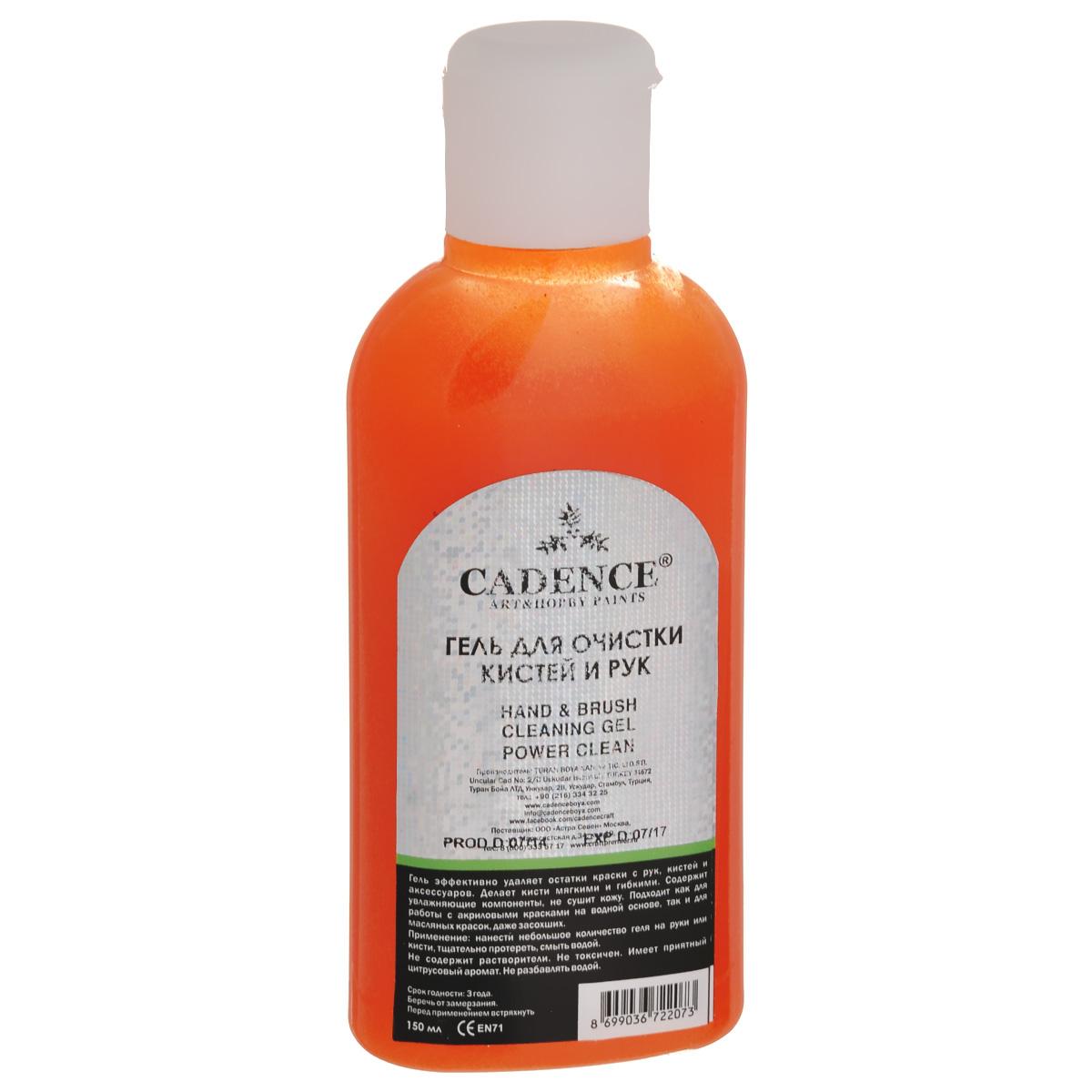 Гель для очистки рук и кистей Cadence, 150 мл2207-1Гель Cadence - это универсальный очиститель на водной основе. Он эффективно удаляет остатки краски с рук, кистей и аксессуаров. Делает кисти мягкими и гибкими. Содержит увлажняющие компоненты, не сушит кожу. Гель подходит как для работы с акриловыми красками на водной основе, так и для масляных красок, даже засохших. Гель не содержит растворители. Не токсичен. Имеет приятный цитрусовый аромат. Не разбавлять водой. Состав: аква полиэтилен 60%, вода 30%, диоксид титана 7%, присадка 2%, диспергент 2%.