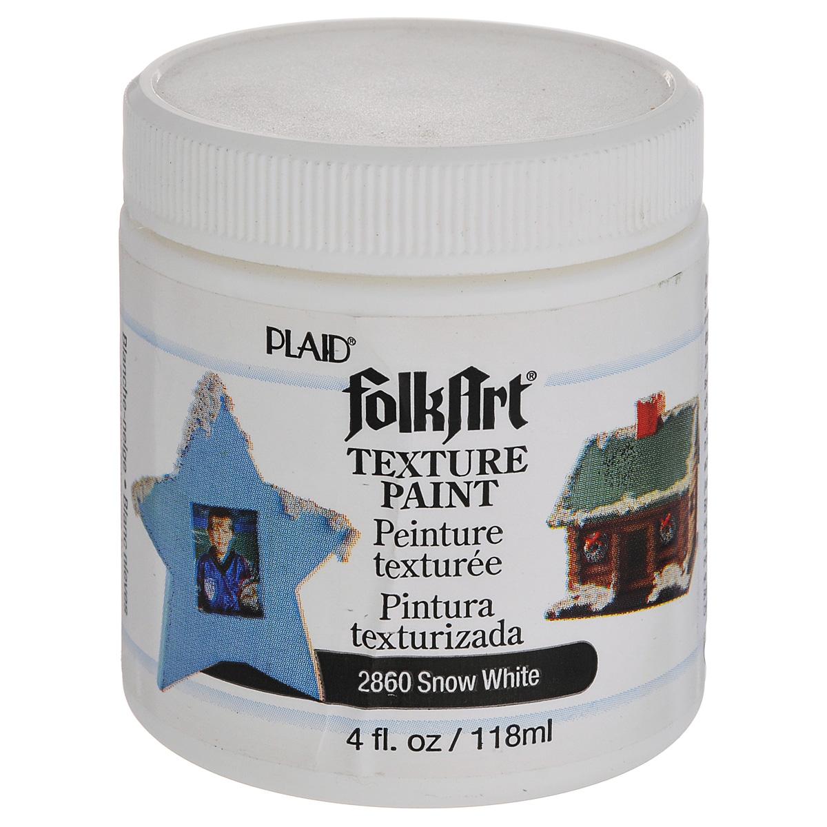 Фактурная краска Plaid, цвет: белый, 118 мл. PLD-02860PLD-02860Фактурная краска Plaid на водной основе при нанесении напоминает снежный покров, высыхает с объемом. Идеально подходит для детского творчества, объемных проектов и другого. Можно наносить на дерево, папье-маше, глиняную поверхность. До высыхания может быть смыта водой с мылом, время высыхания: 24 часа. Объем: 118 мл.