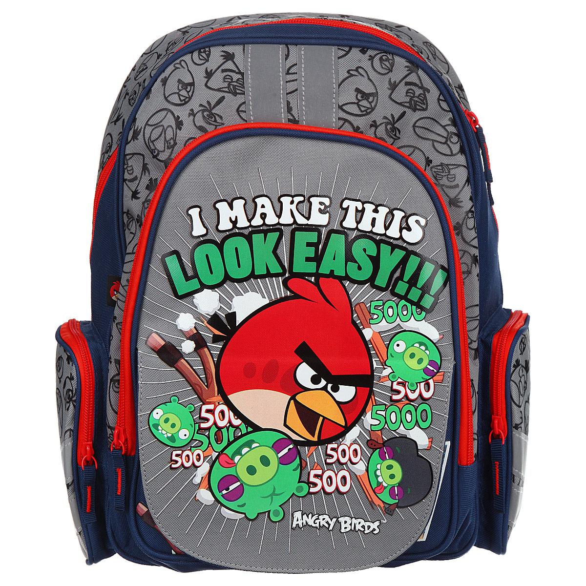Рюкзак детский Академия Групп Angry Birds, цвет: серый, синий, красный. ABBB-UT1-836MABBB-UT1-836MРюкзак детский Академия Групп Angry Birds выполнен из высококачественного полиэстера. Имеет одно объемное основное отделение на застежке-молнии. Основное отделение содержит три небольших накладных кармана, два открытых, один на молнии. Снаружи располагается внешний карман с изображением героев популярной игры Angry Birds. Перекидная магнитная панель позволяет легко менять внешний вид рюкзака. По бокам рюкзака имеются два сетчатых кармана на молнии. Множество карманов повышает функциональность рюкзака и позволяет использовать его не только для учебы, но и для занятий спортом, поездок за город. Широкие мягкие регулируемые лямки и мягкая спинка анатомической формы предохранят плечи и спину ребенка от перенапряжения. Рюкзак имеет текстильную ручку с резиновым хватом для удобства переноски.